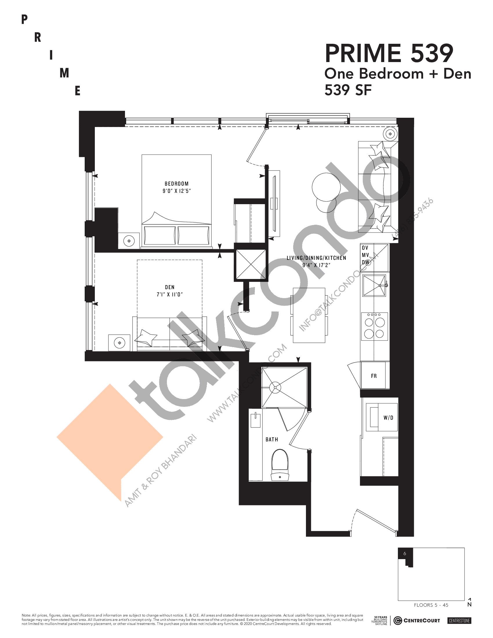 PRIME 539 Floor Plan at Prime Condos - 539 sq.ft