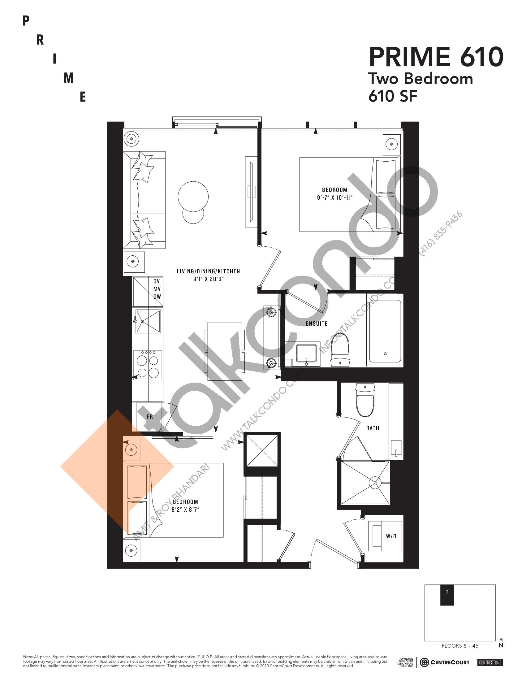 PRIME 610 Floor Plan at Prime Condos - 610 sq.ft