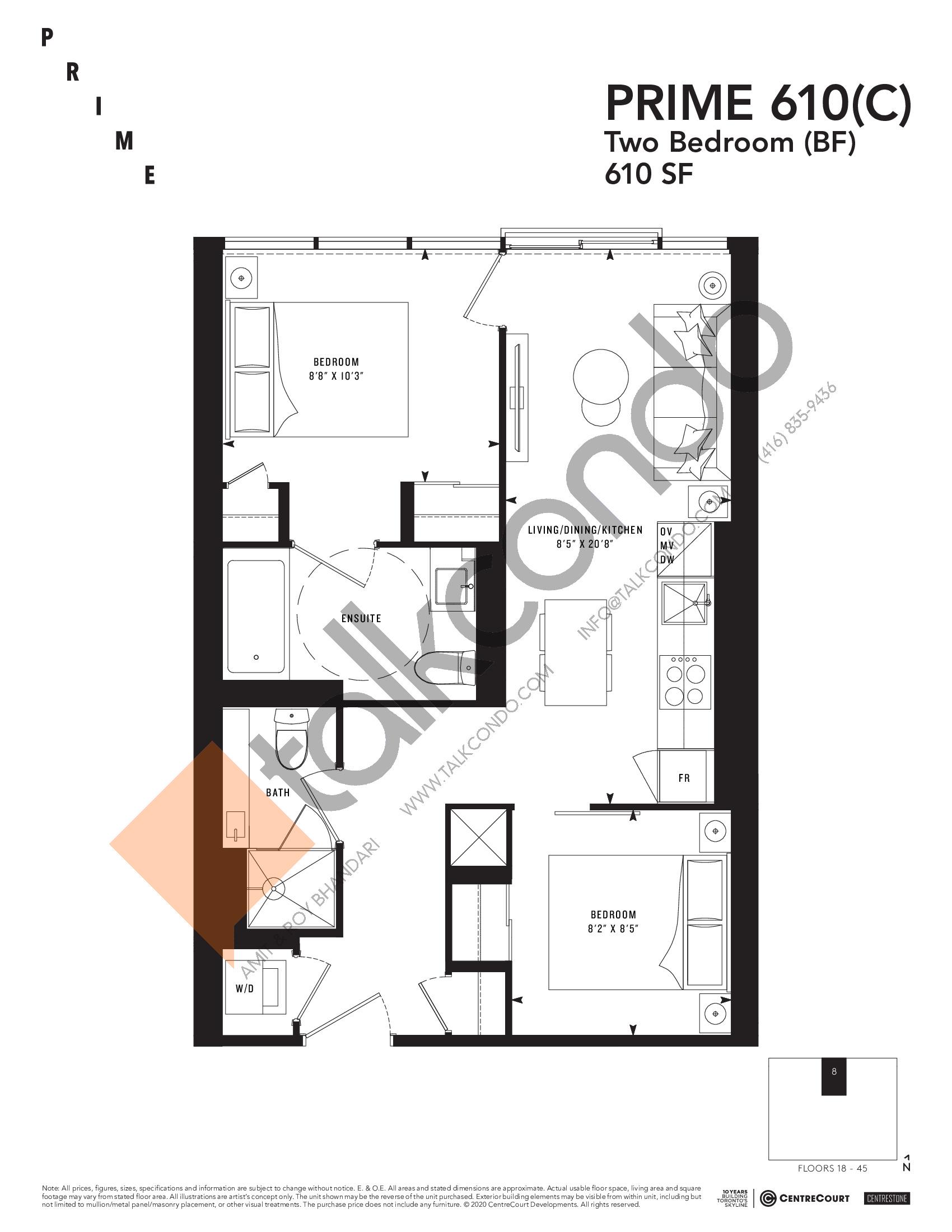 PRIME 610(C) Floor Plan at Prime Condos - 610 sq.ft