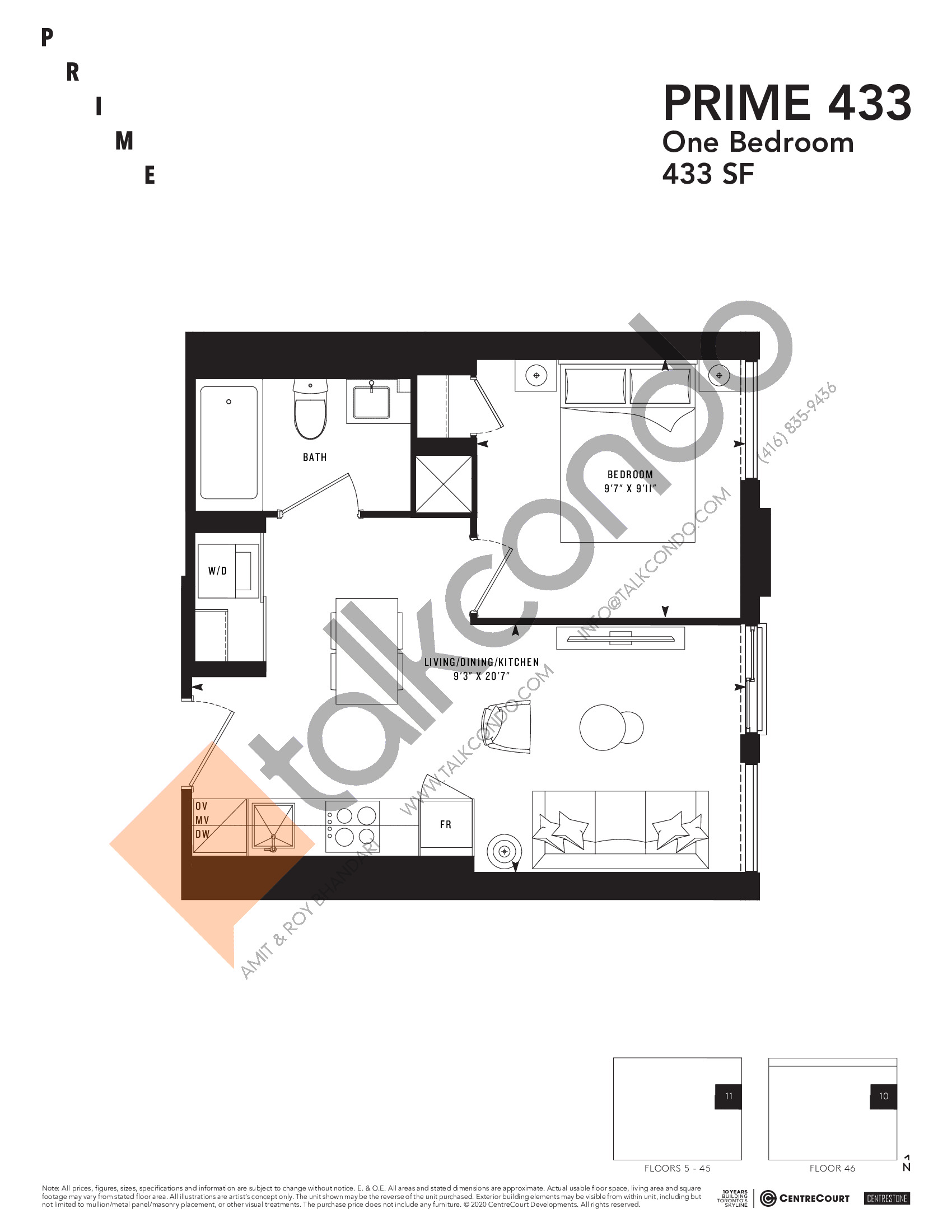 PRIME 433 Floor Plan at Prime Condos - 433 sq.ft