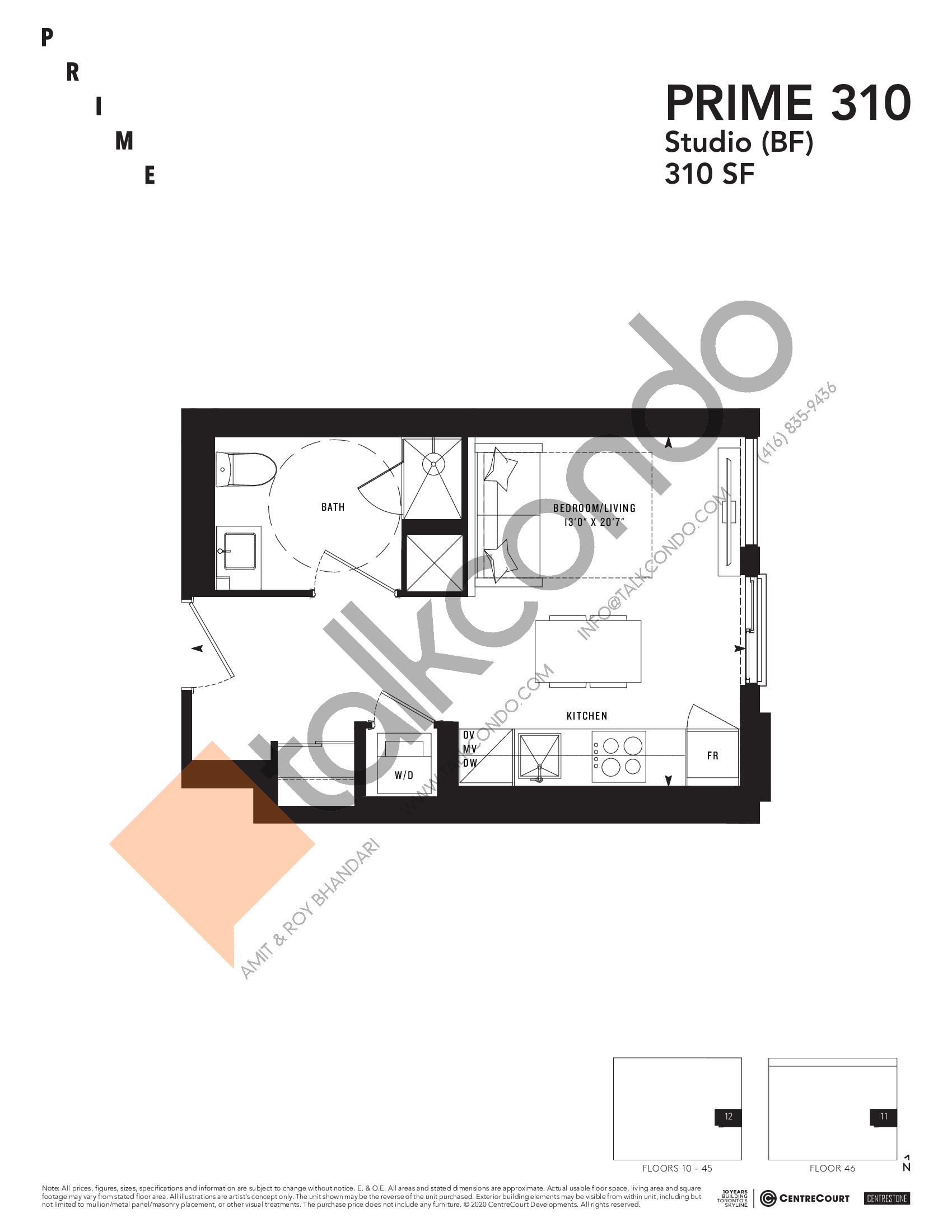 PRIME 310 Floor Plan at Prime Condos - 310 sq.ft