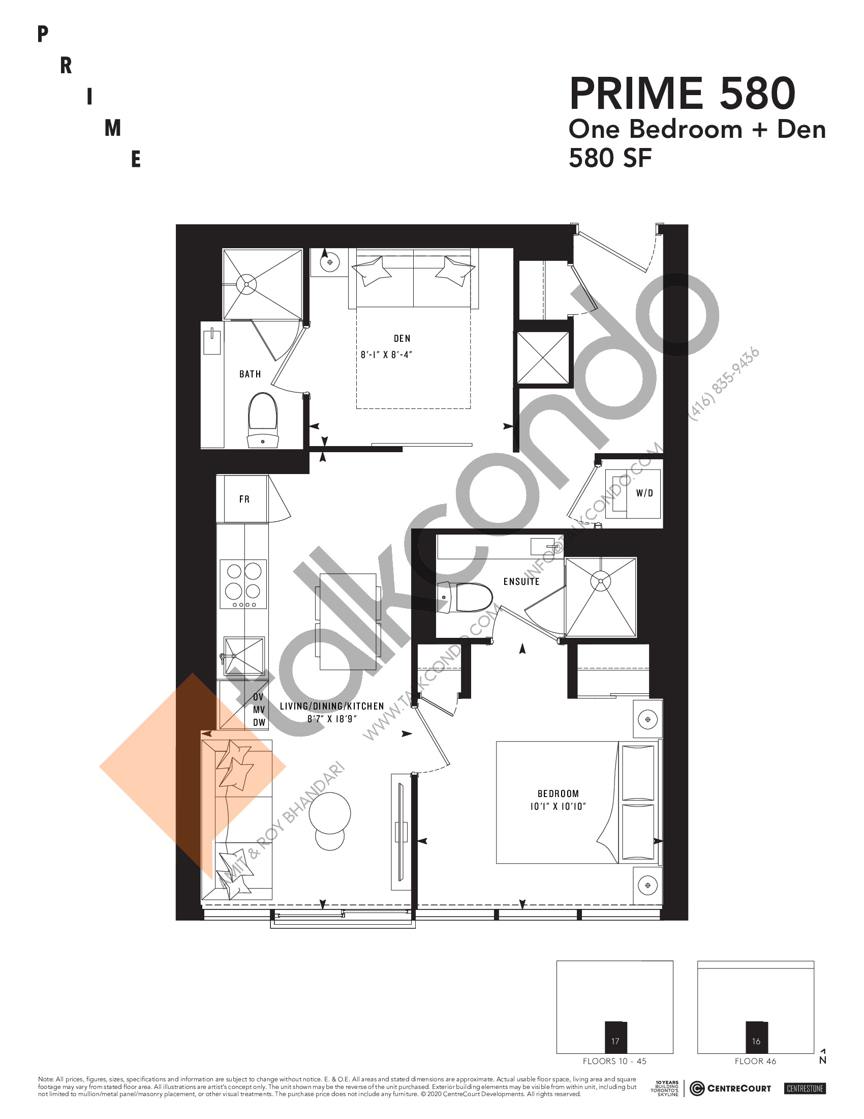 PRIME 580 Floor Plan at Prime Condos - 580 sq.ft