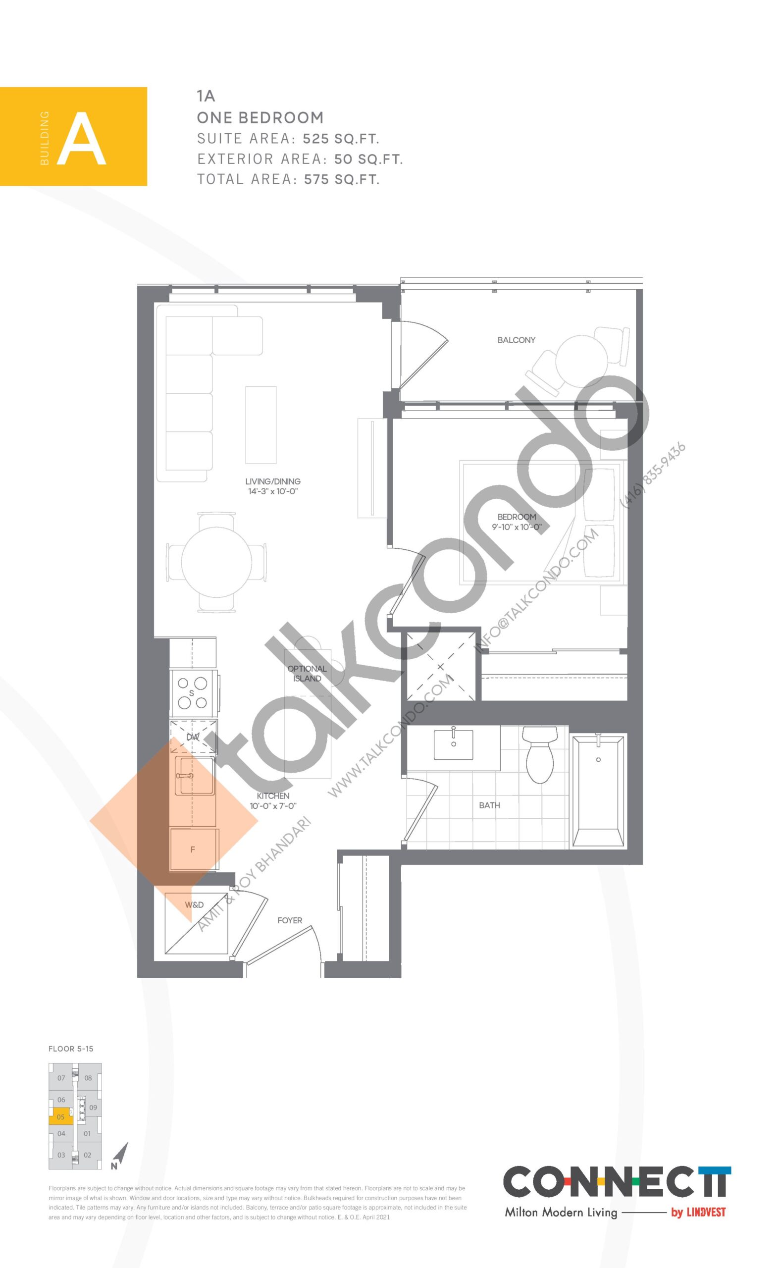1A Floor Plan at Connectt Urban Community Condos - 525 sq.ft