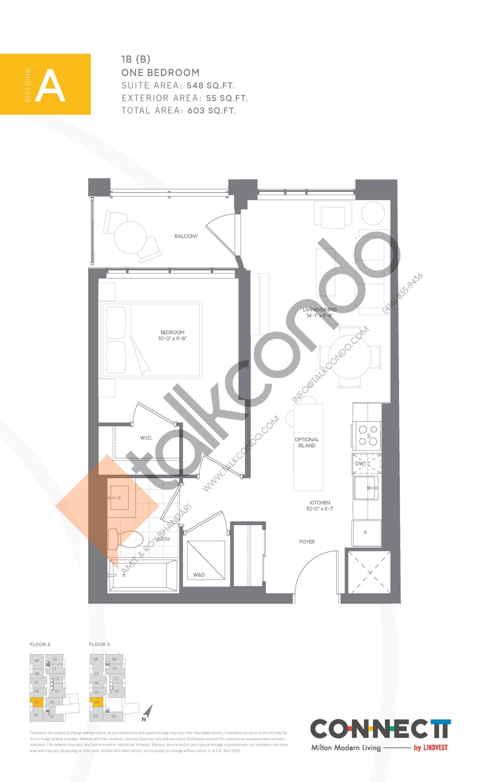 1B (B) Floor Plan at Connectt Urban Community Condos - 548 sq.ft