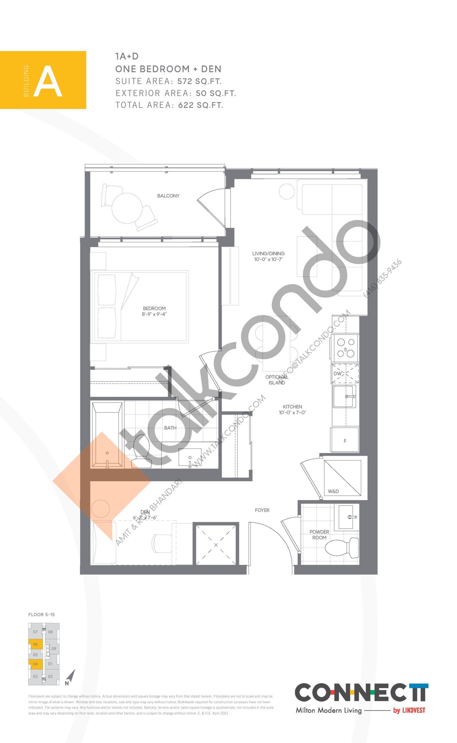 1A+D Floor Plan at Connectt Urban Community Condos - 572 sq.ft