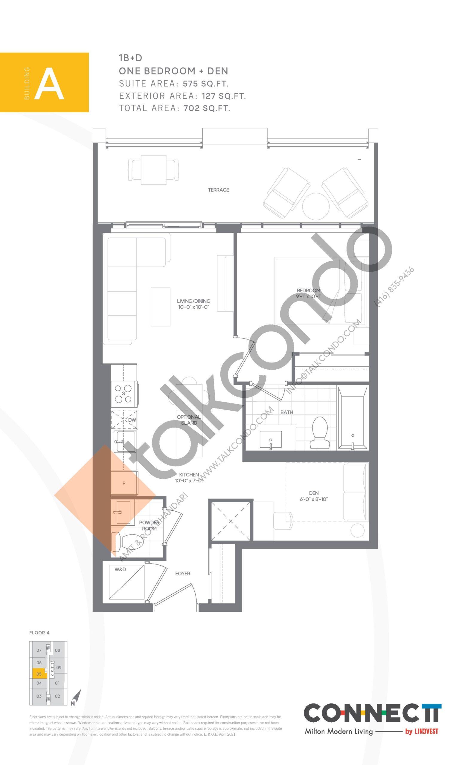 1B+D Floor Plan at Connectt Urban Community Condos - 575 sq.ft