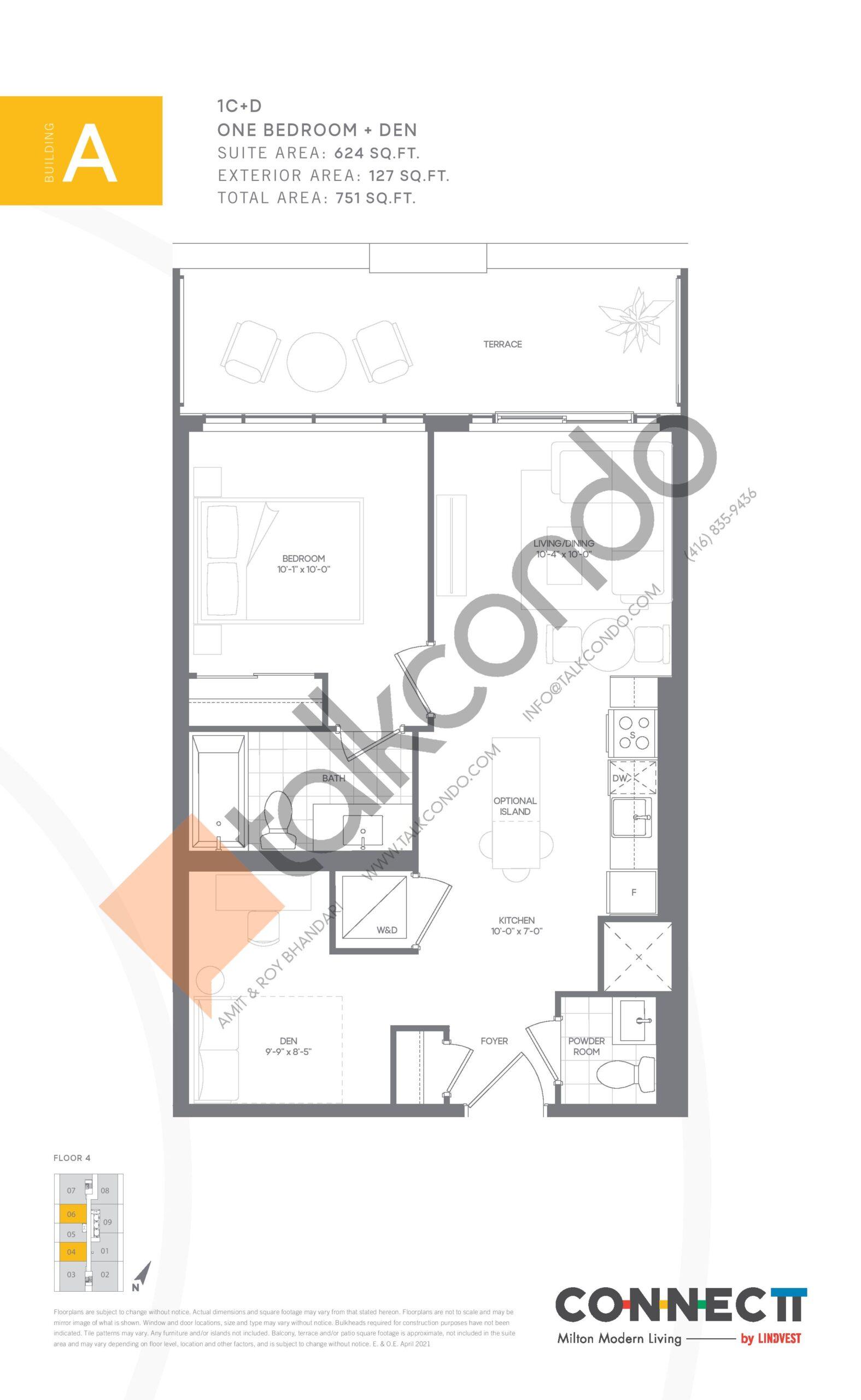1C+D Floor Plan at Connectt Urban Community Condos - 624 sq.ft