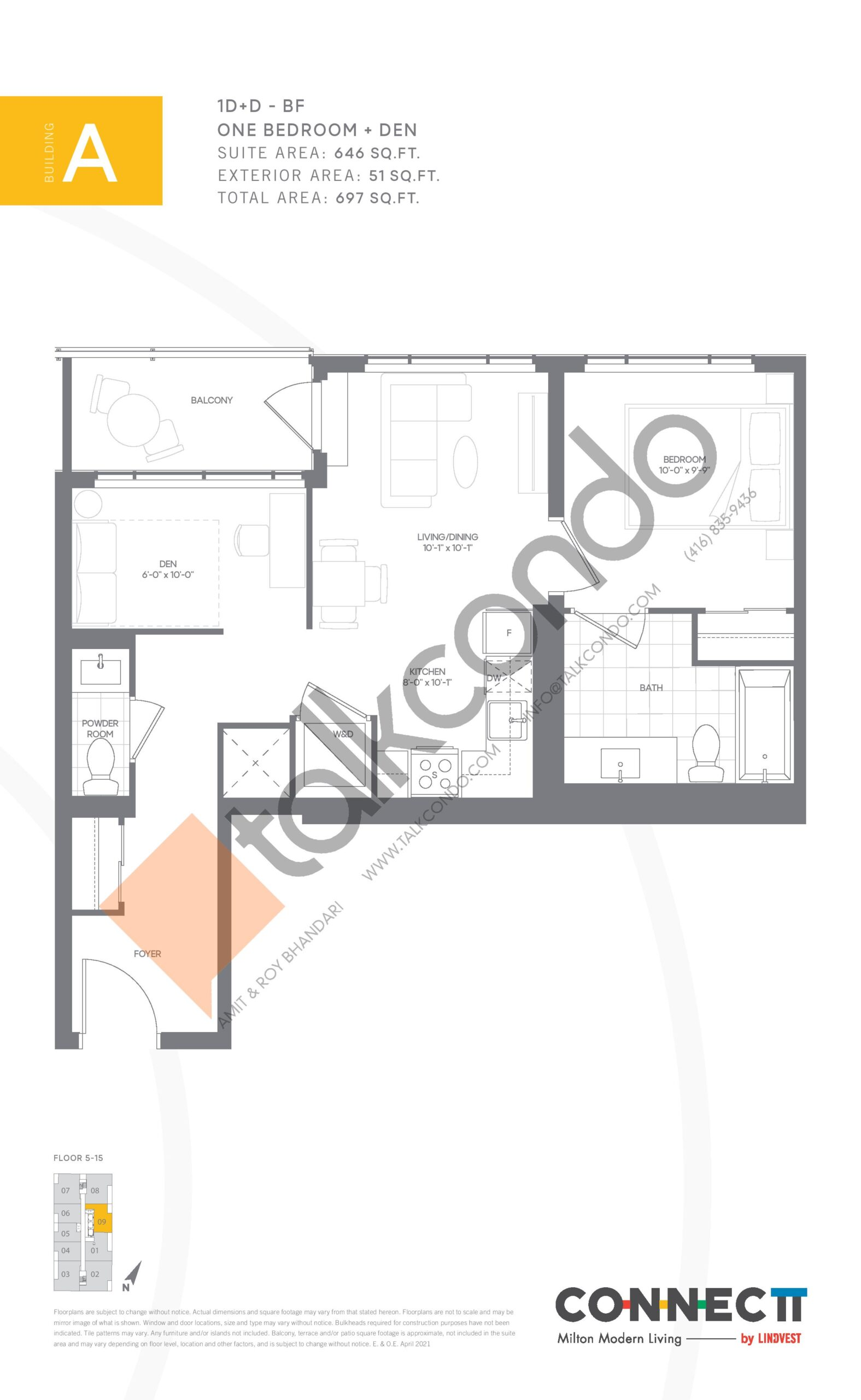 1D+D - BF Floor Plan at Connectt Urban Community Condos - 646 sq.ft
