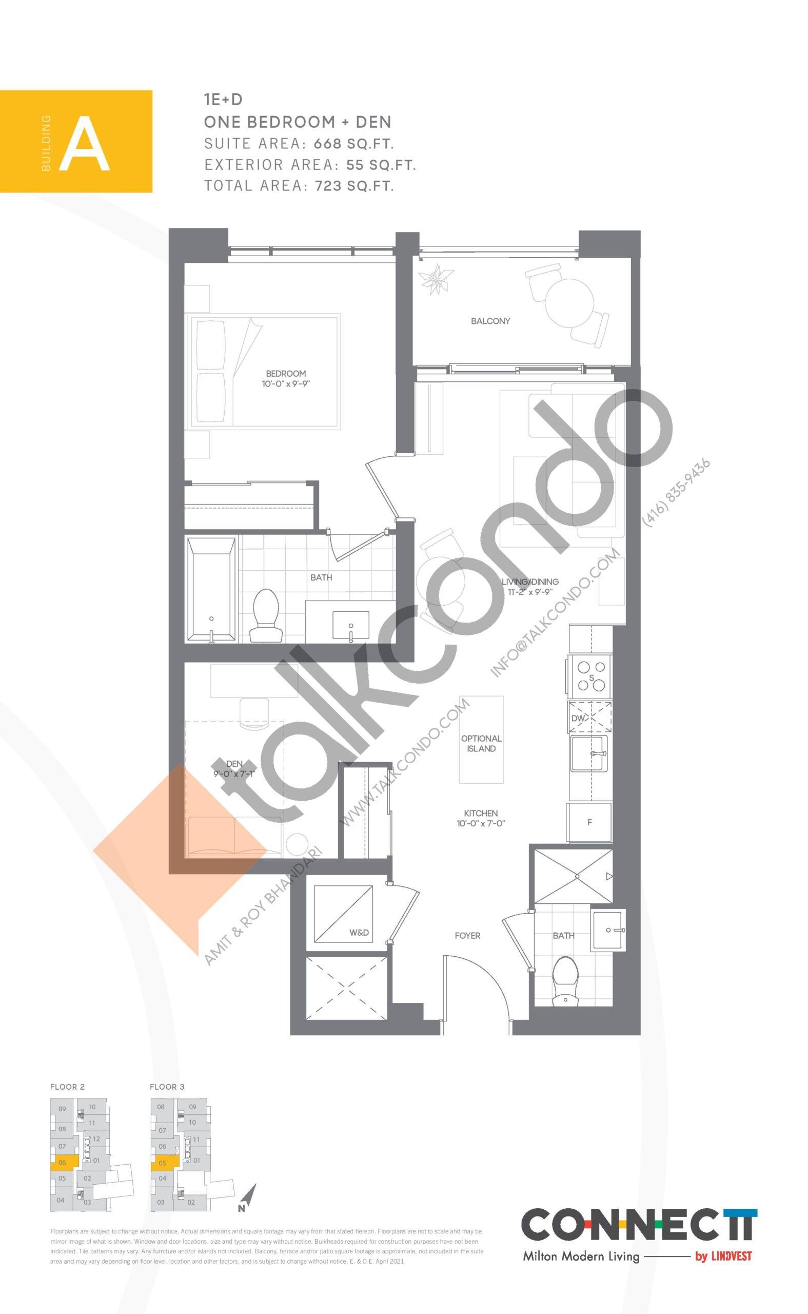 1E+D Floor Plan at Connectt Urban Community Condos - 668 sq.ft