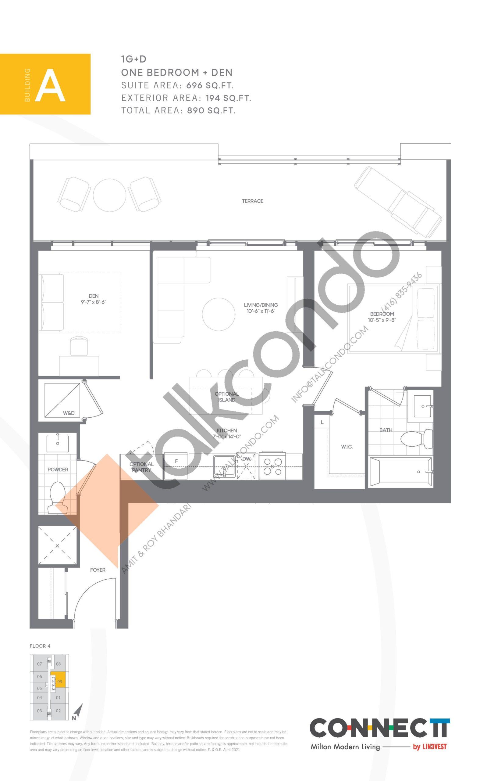 1G+D Floor Plan at Connectt Urban Community Condos - 696 sq.ft