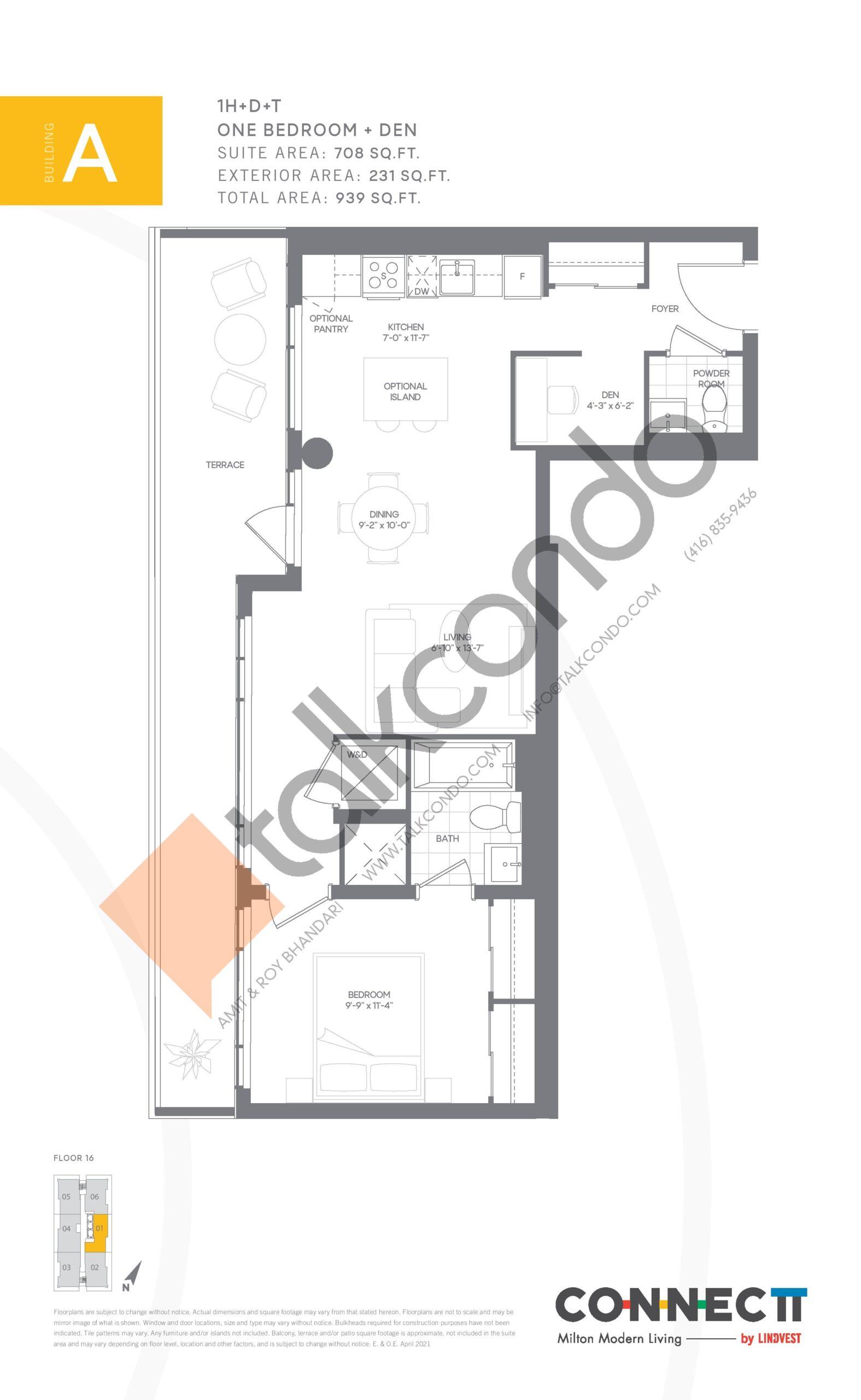 1H+D+T Floor Plan at Connectt Urban Community Condos - 708 sq.ft