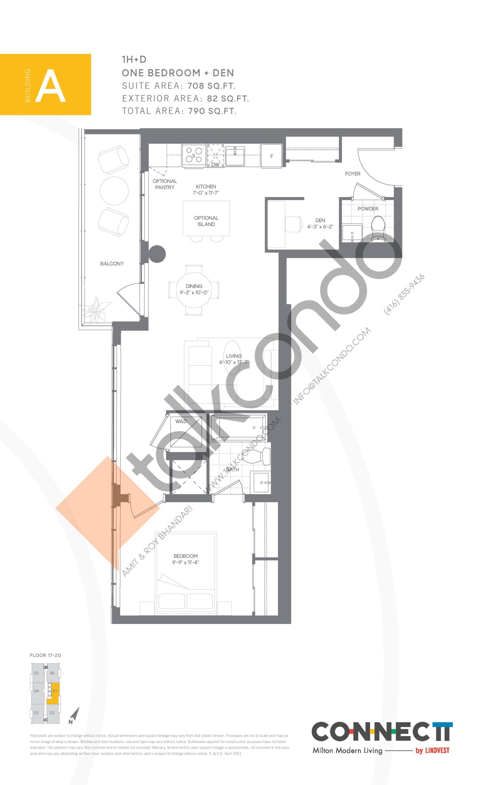 1H+D Floor Plan at Connectt Urban Community Condos - 708 sq.ft