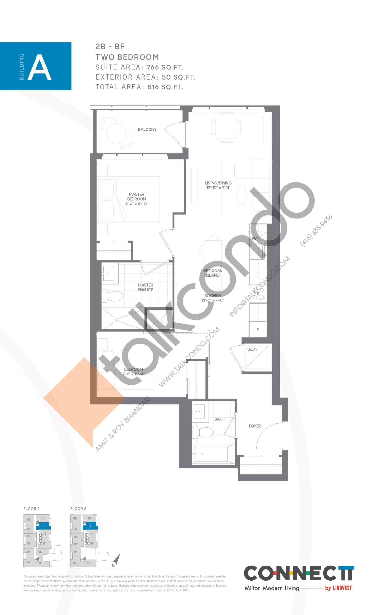 2B - BF Floor Plan at Connectt Urban Community Condos - 766 sq.ft