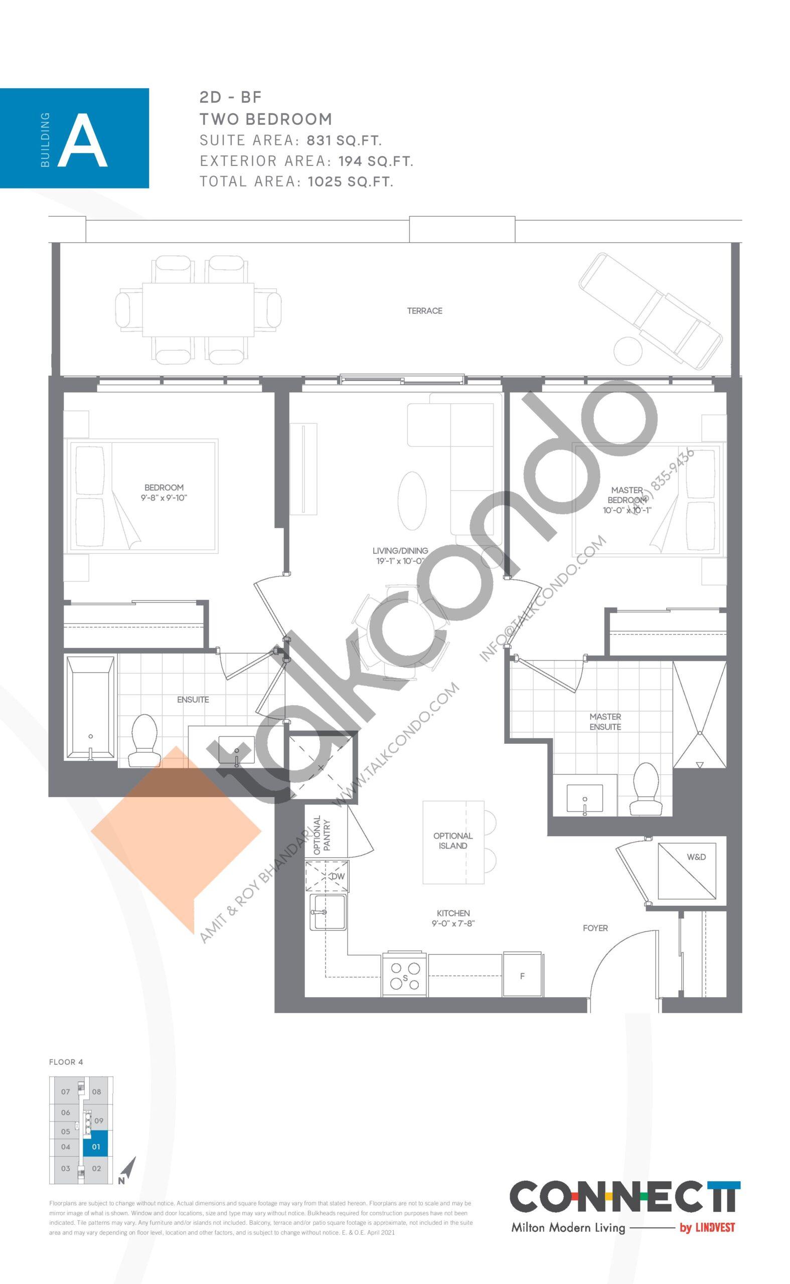 2D - BF Floor Plan at Connectt Urban Community Condos - 831 sq.ft