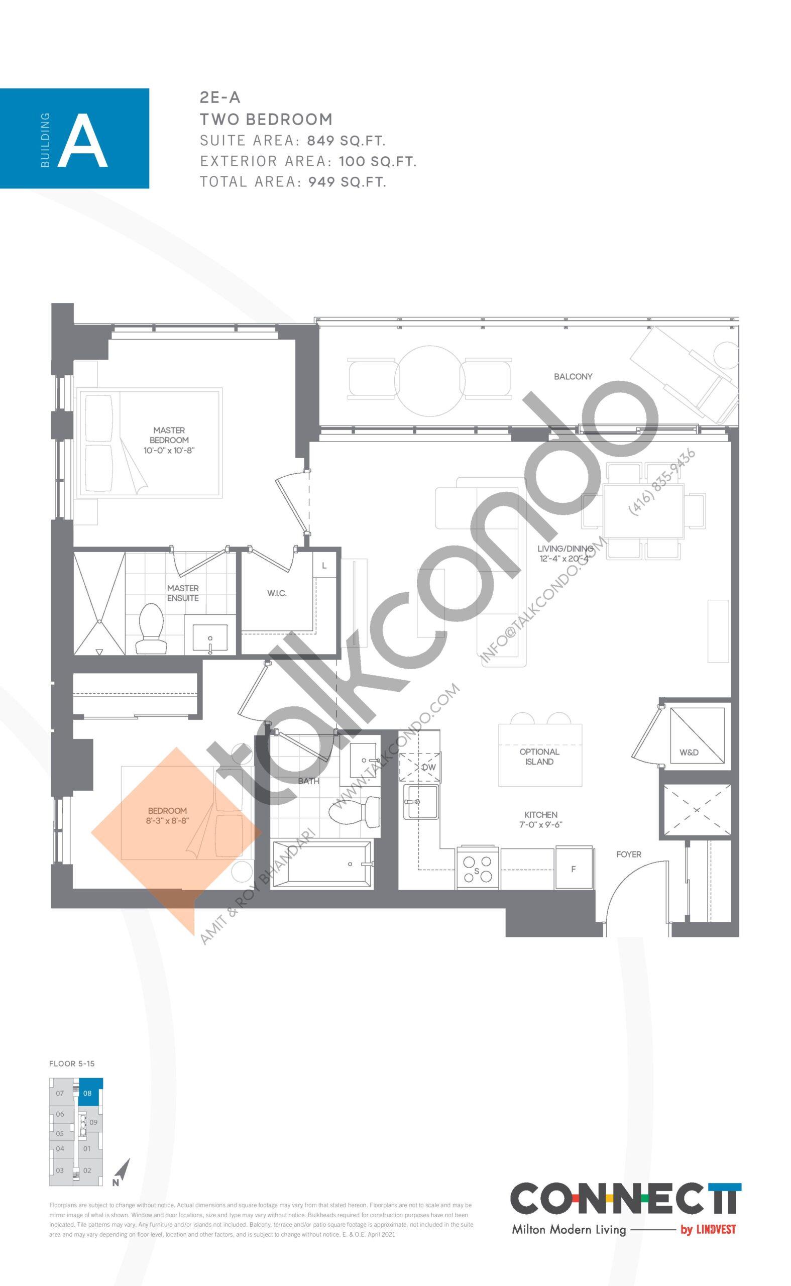 2E-A Floor Plan at Connectt Urban Community Condos - 849 sq.ft