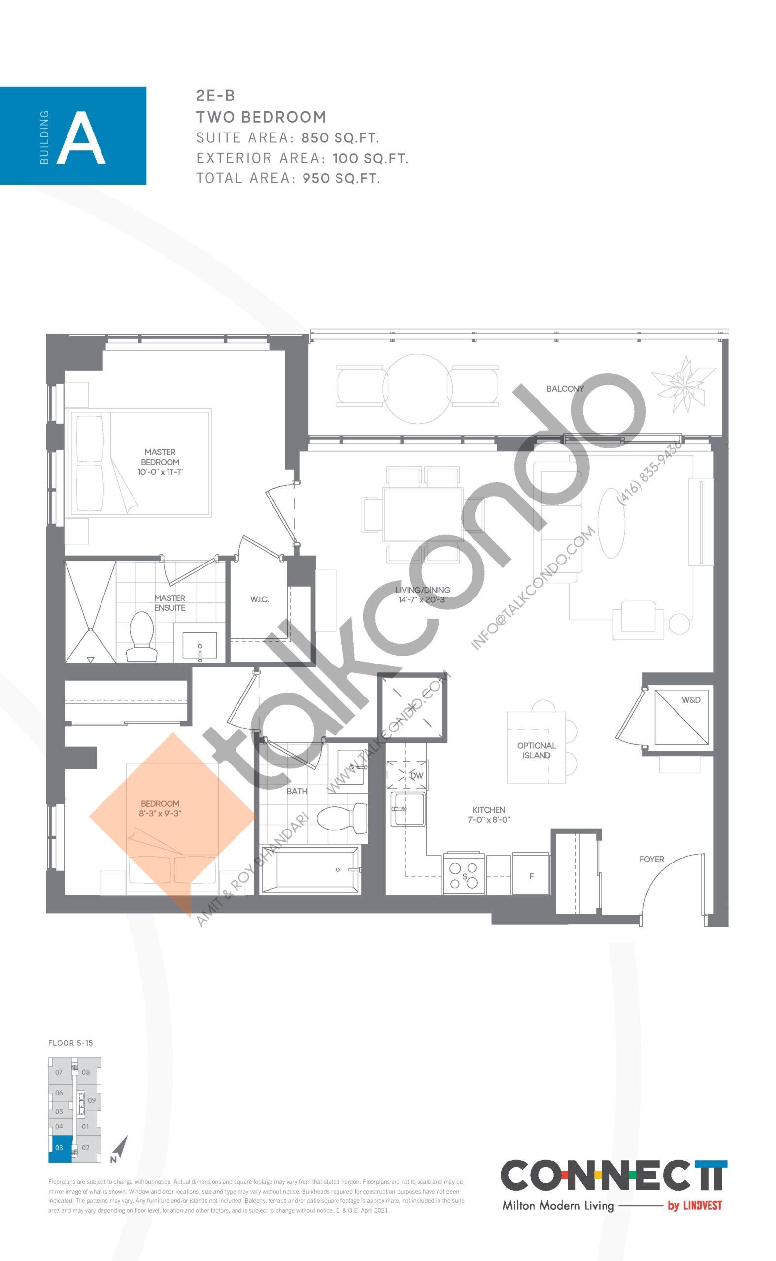2E-B Floor Plan at Connectt Urban Community Condos - 850 sq.ft