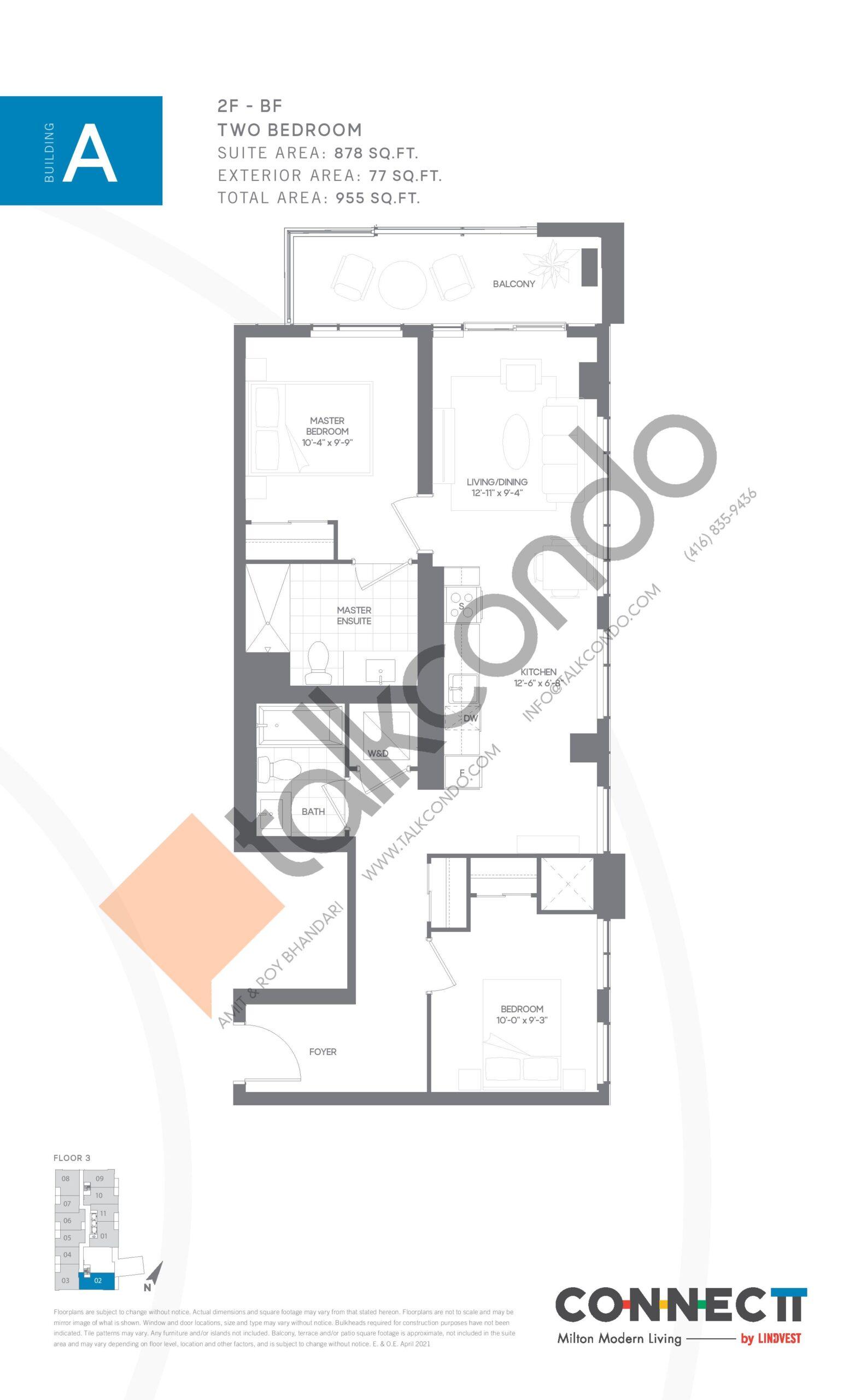 2F - BF Floor Plan at Connectt Urban Community Condos - 878 sq.ft