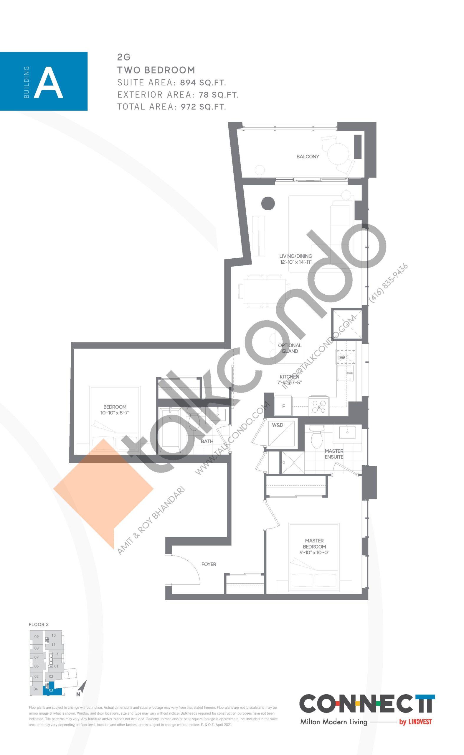 2G Floor Plan at Connectt Urban Community Condos - 894 sq.ft