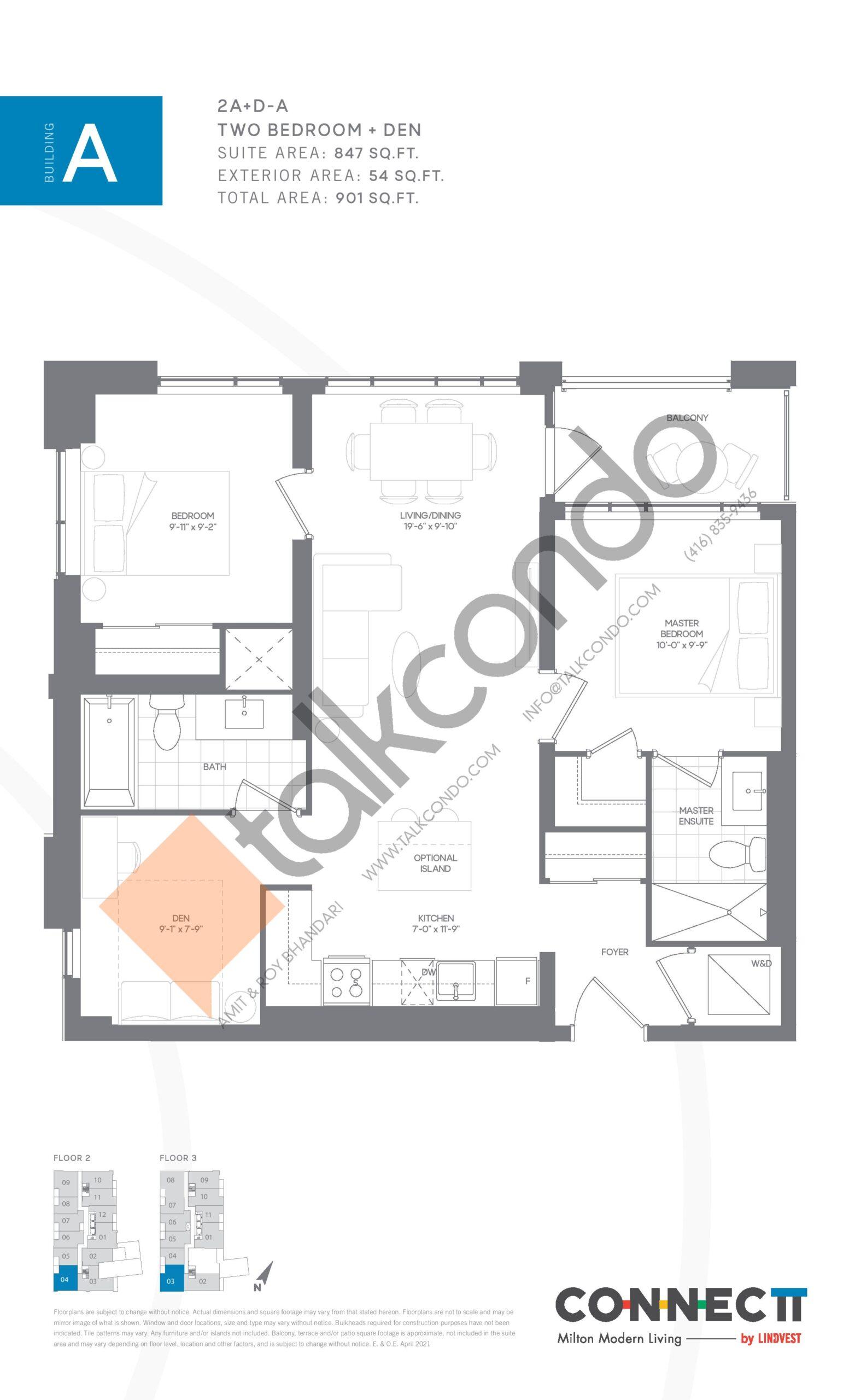 2A+D-A Floor Plan at Connectt Urban Community Condos - 847 sq.ft