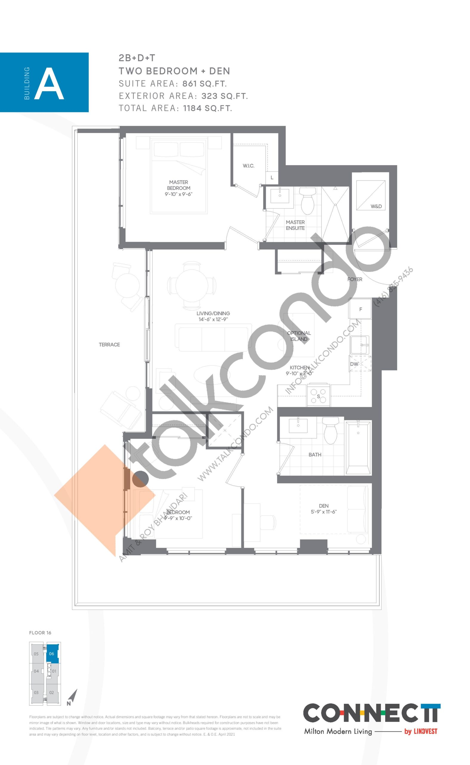2B+D+T Floor Plan at Connectt Urban Community Condos - 861 sq.ft
