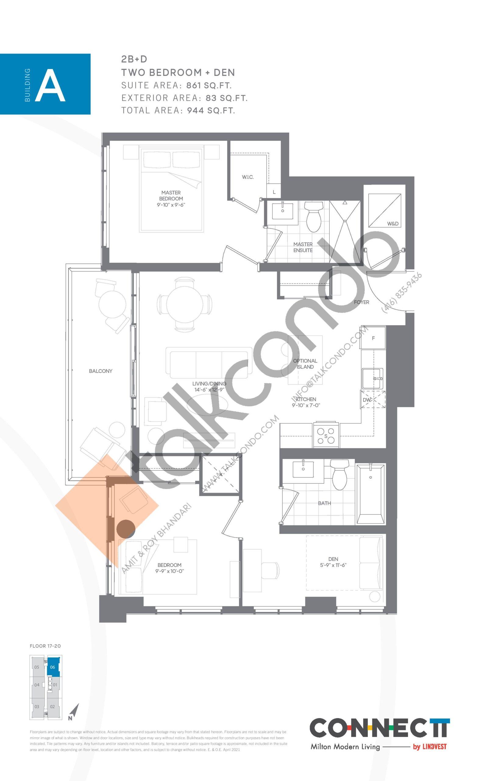 2B+D Floor Plan at Connectt Urban Community Condos - 861 sq.ft