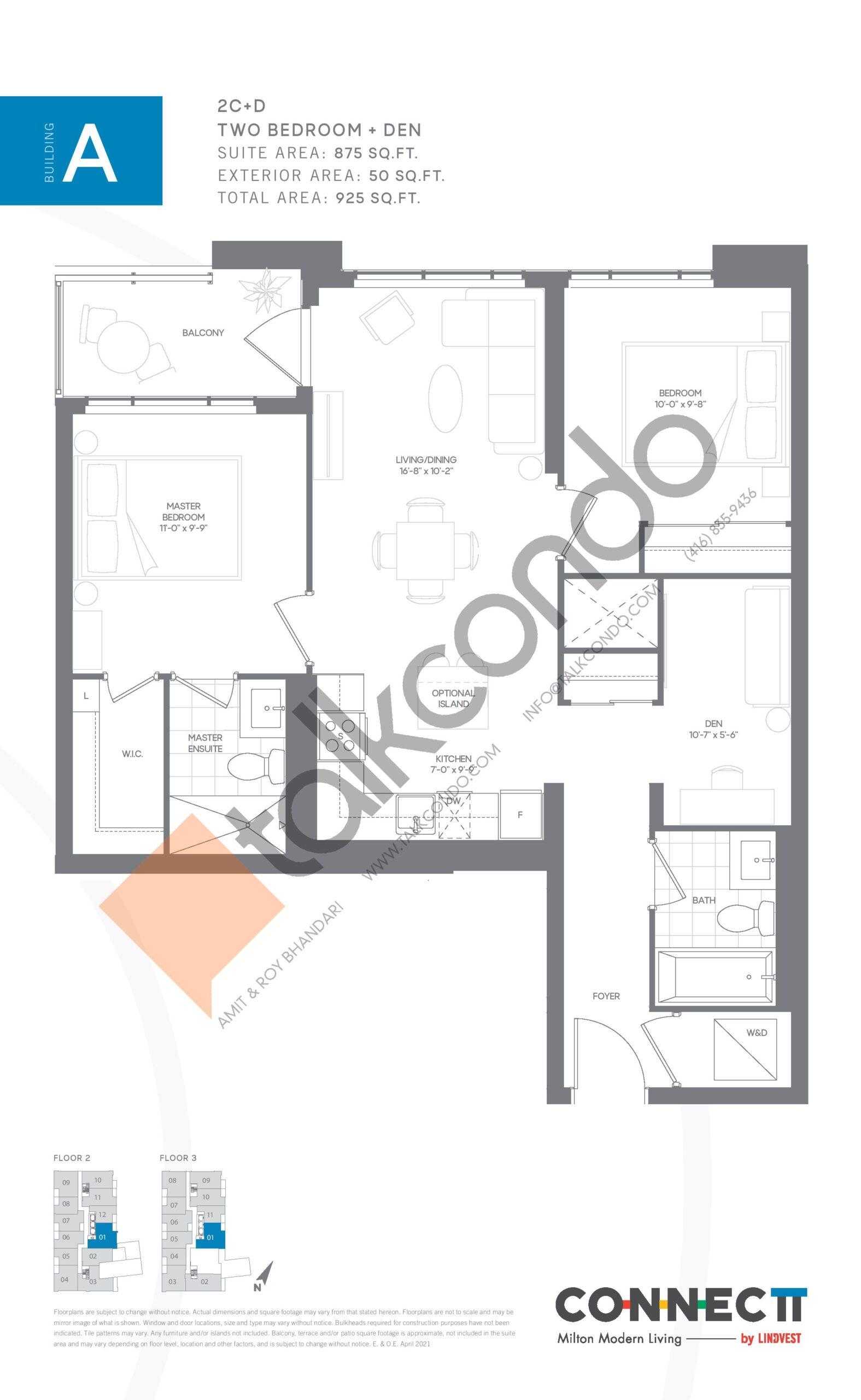 2C+D Floor Plan at Connectt Urban Community Condos - 875 sq.ft