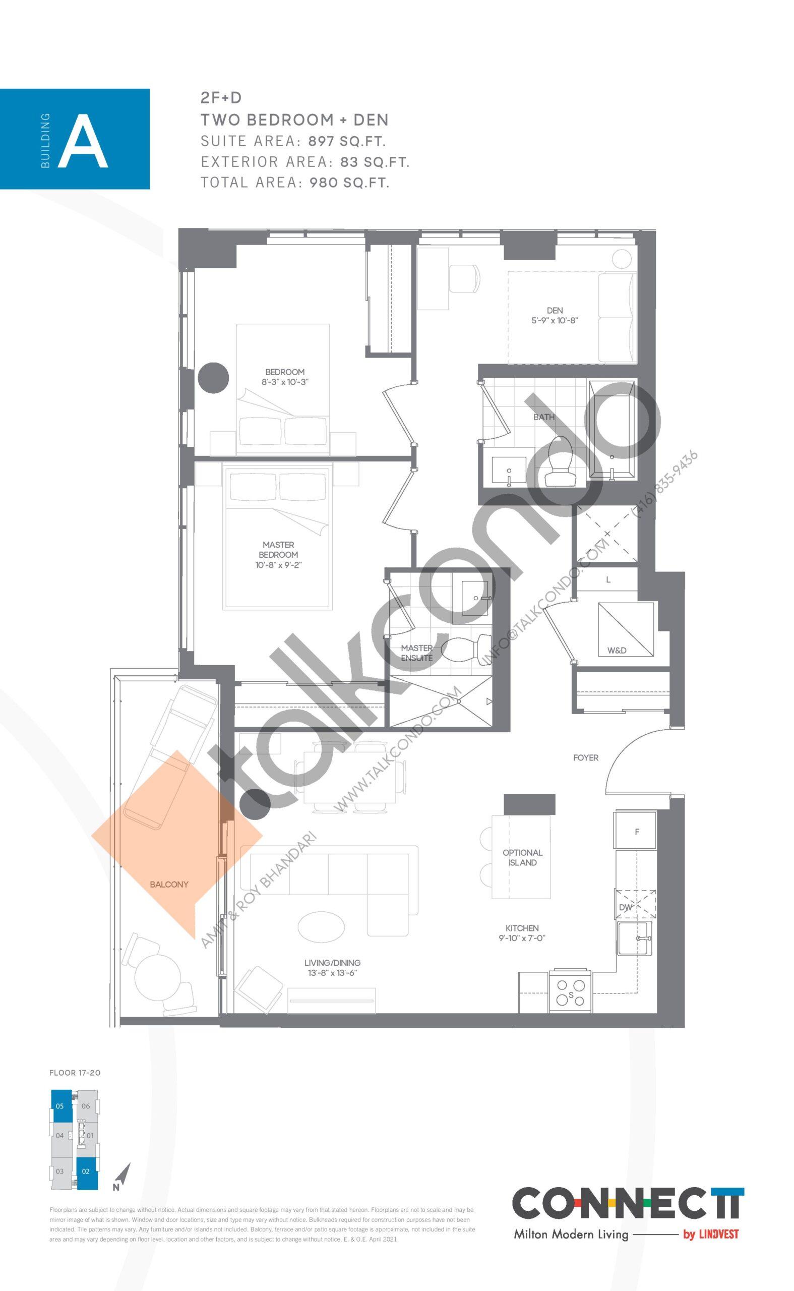 2F+D Floor Plan at Connectt Urban Community Condos - 897 sq.ft