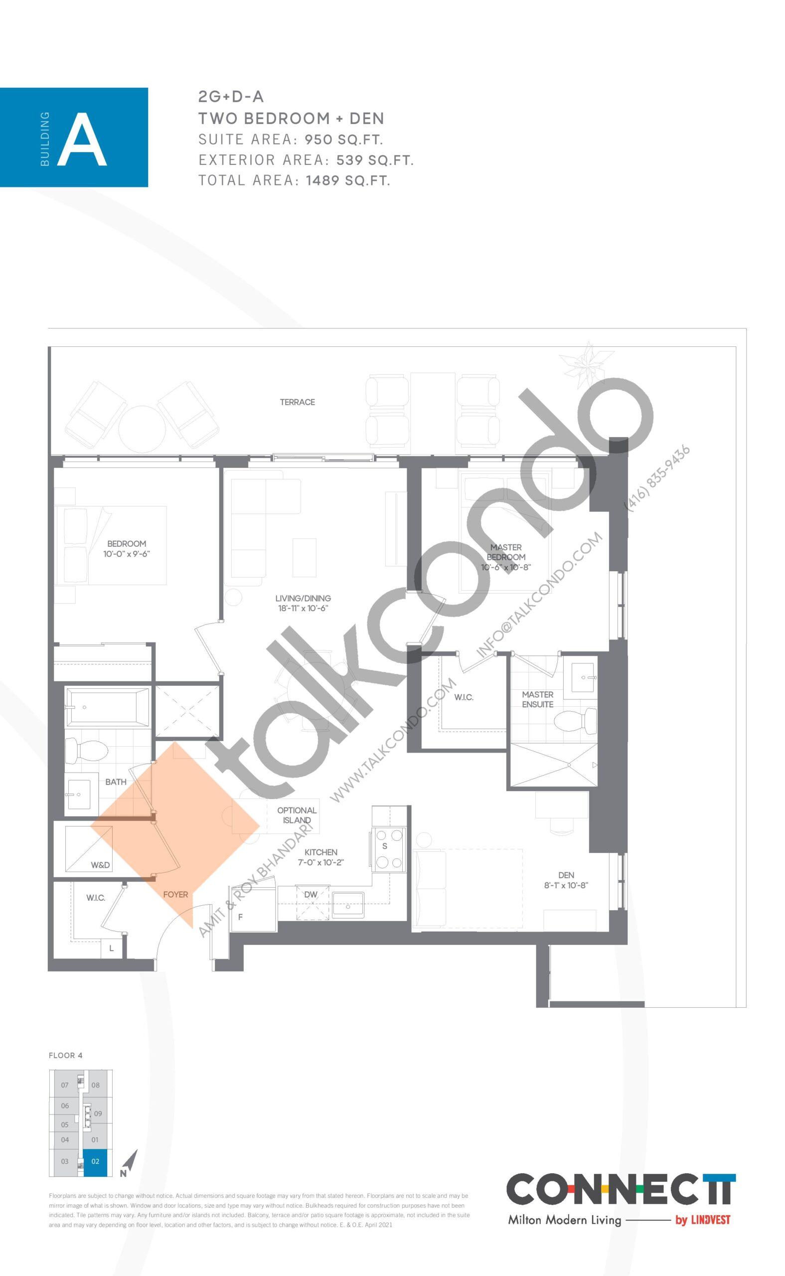 2G+D-A Floor Plan at Connectt Urban Community Condos - 950 sq.ft
