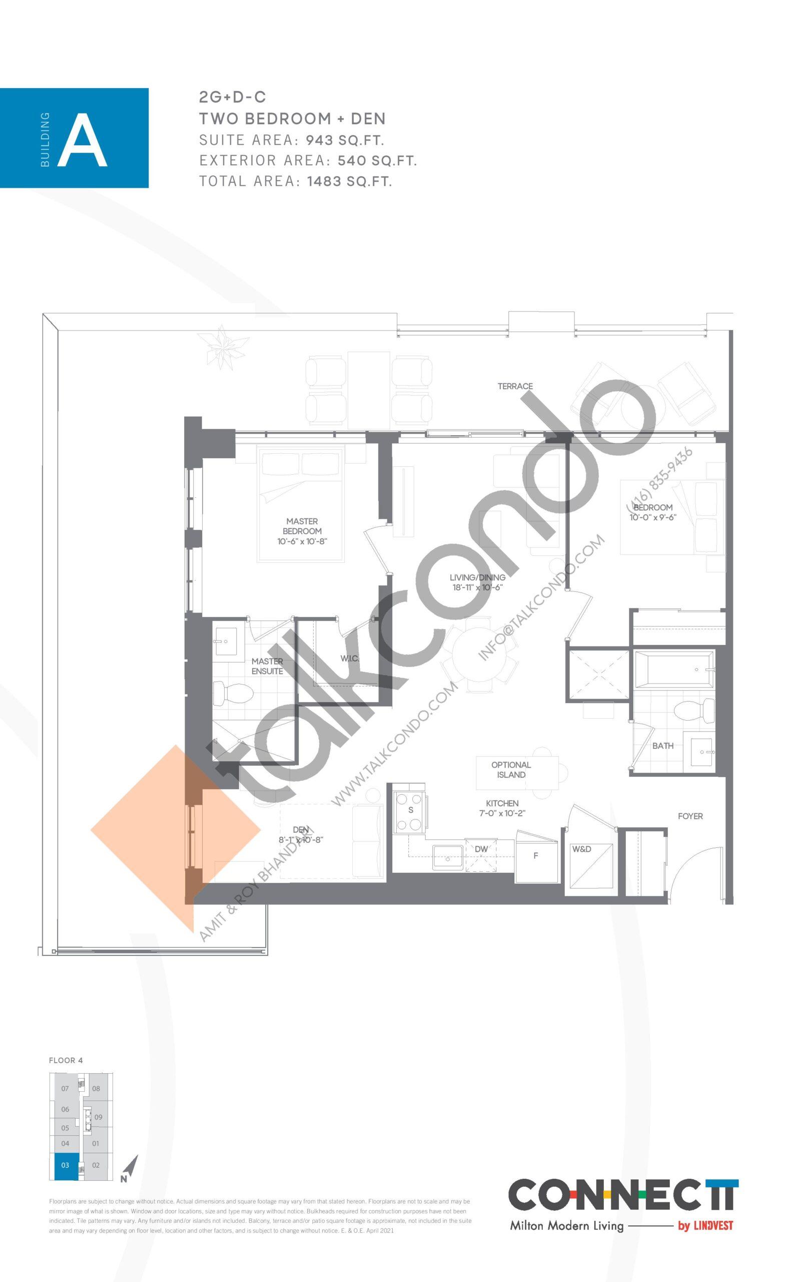 2G+D-C Floor Plan at Connectt Urban Community Condos - 943 sq.ft