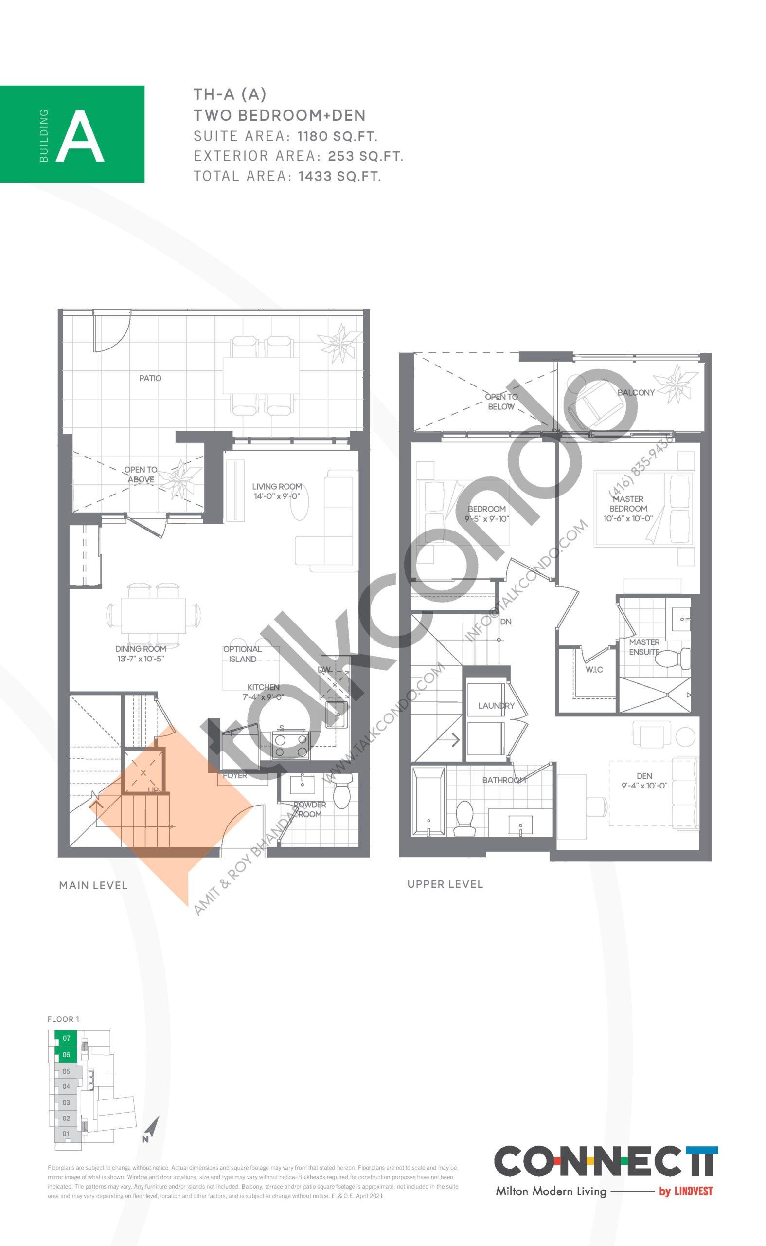 TH-A (A) Floor Plan at Connectt Urban Community Condos - 1180 sq.ft