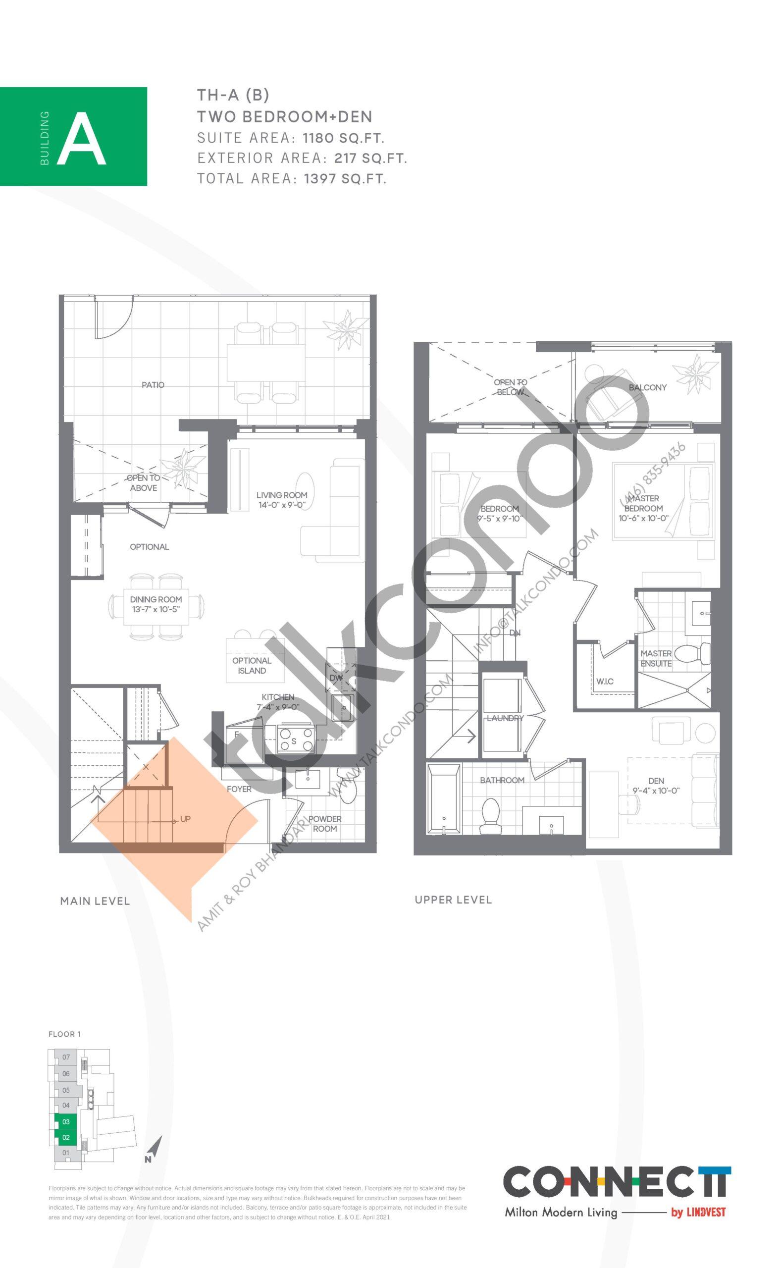 TH-A (B) Floor Plan at Connectt Urban Community Condos - 1180 sq.ft