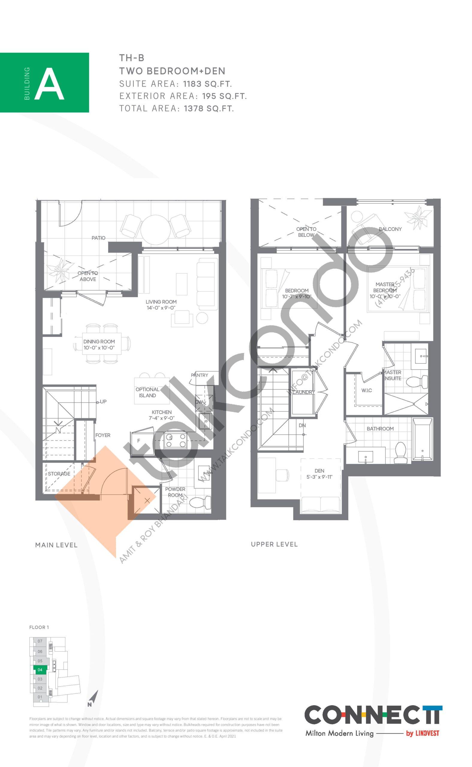 TH-B Floor Plan at Connectt Urban Community Condos - 1183 sq.ft