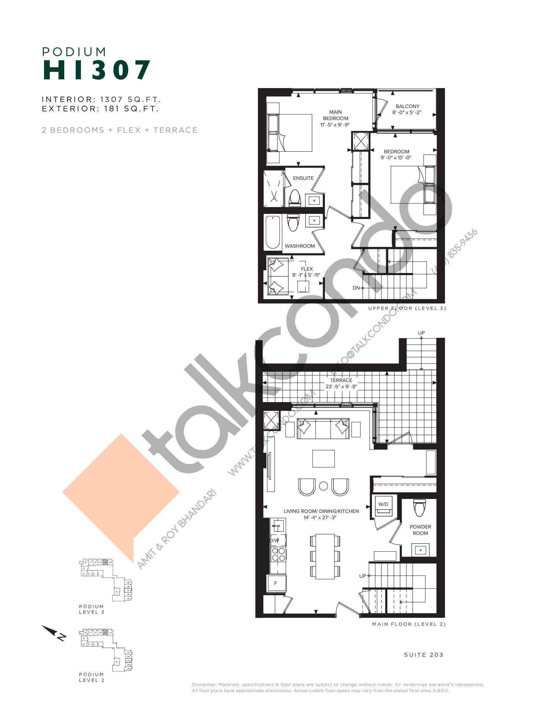 H1307 (Podium) Floor Plan at Hillmont at SXSW Condos - 1307 sq.ft