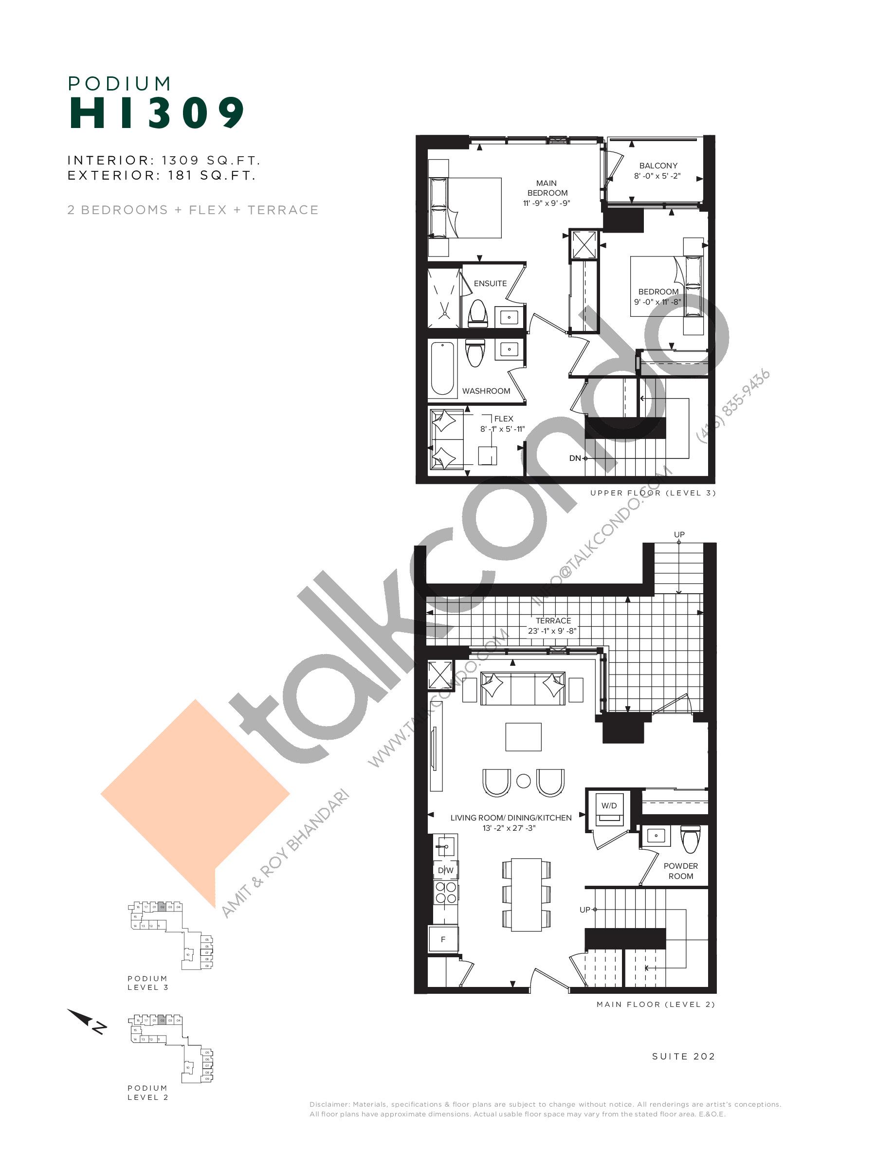 H1309 (Podium) Floor Plan at Hillmont at SXSW Condos - 1309 sq.ft