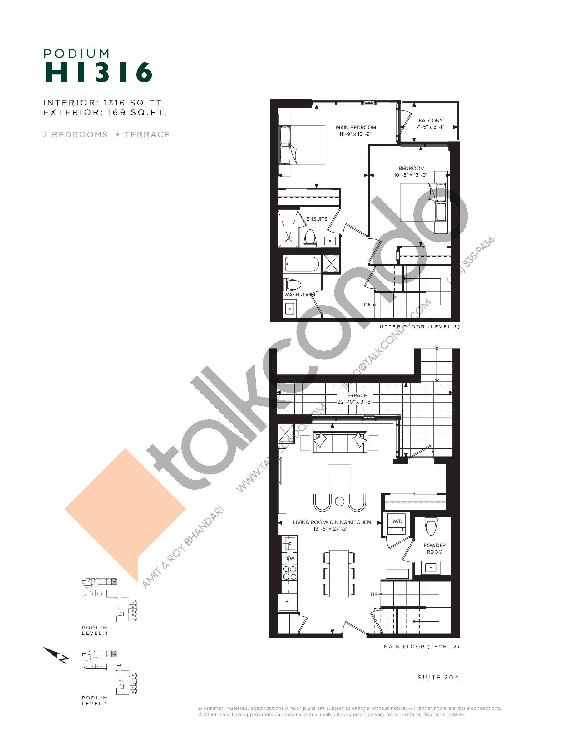 H1316 (Podium) Floor Plan at Hillmont at SXSW Condos - 1316 sq.ft