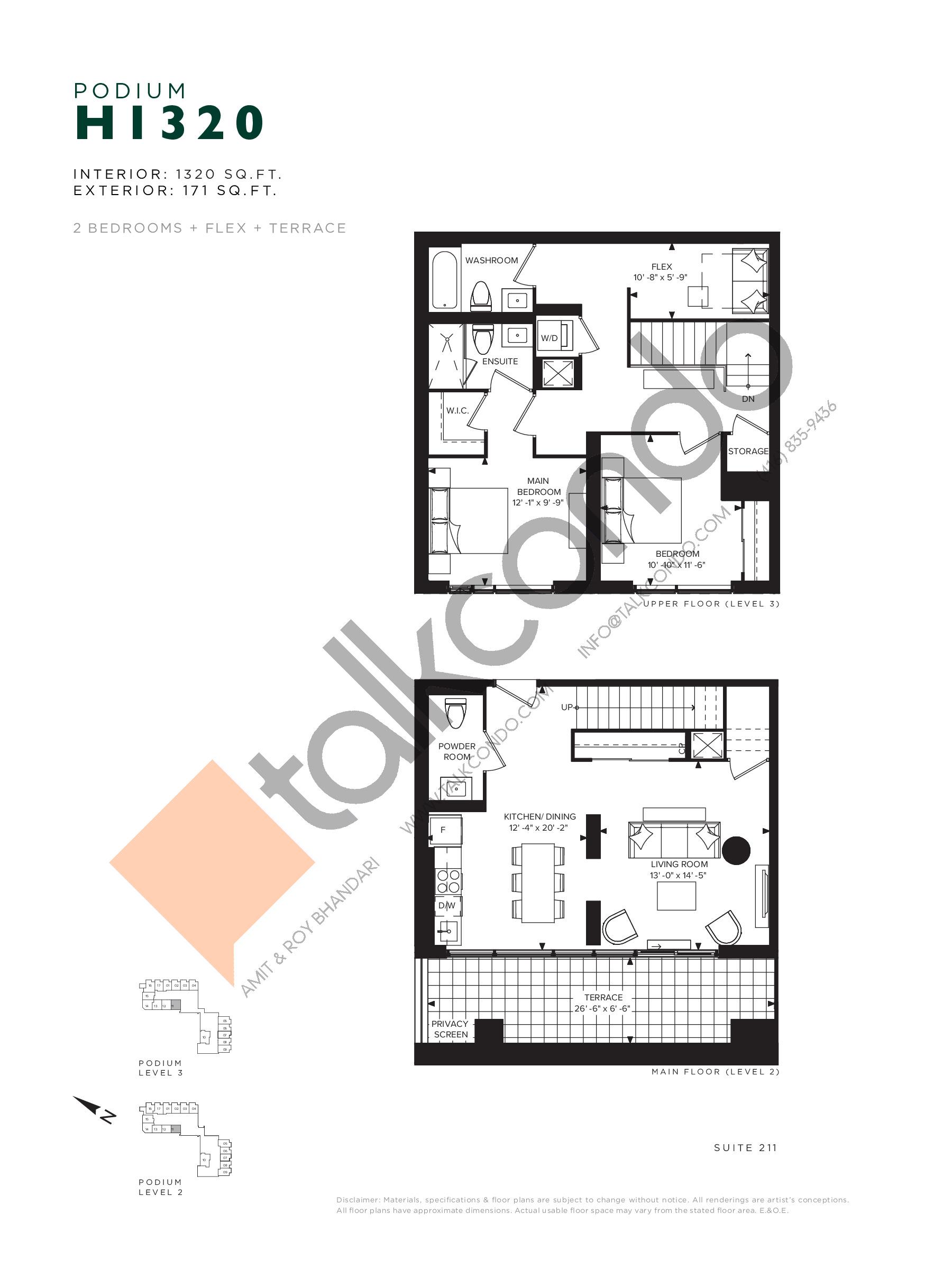H1320 (Podium) Floor Plan at Hillmont at SXSW Condos - 1320 sq.ft