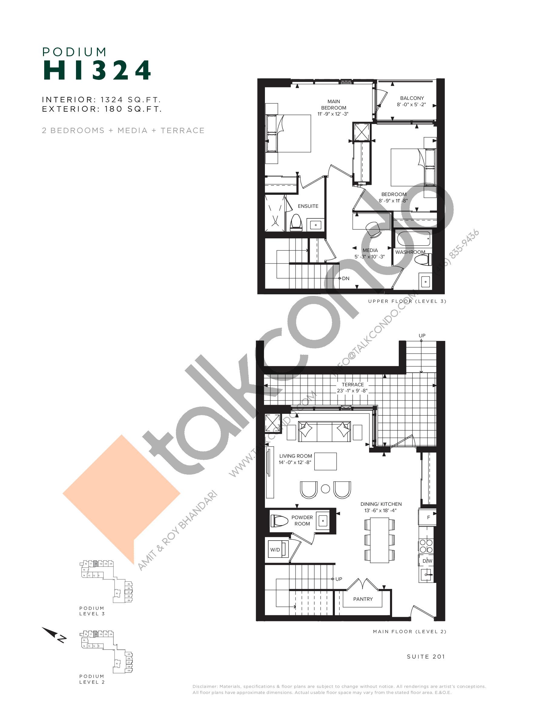 H1324 (Podium) Floor Plan at Hillmont at SXSW Condos - 1324 sq.ft
