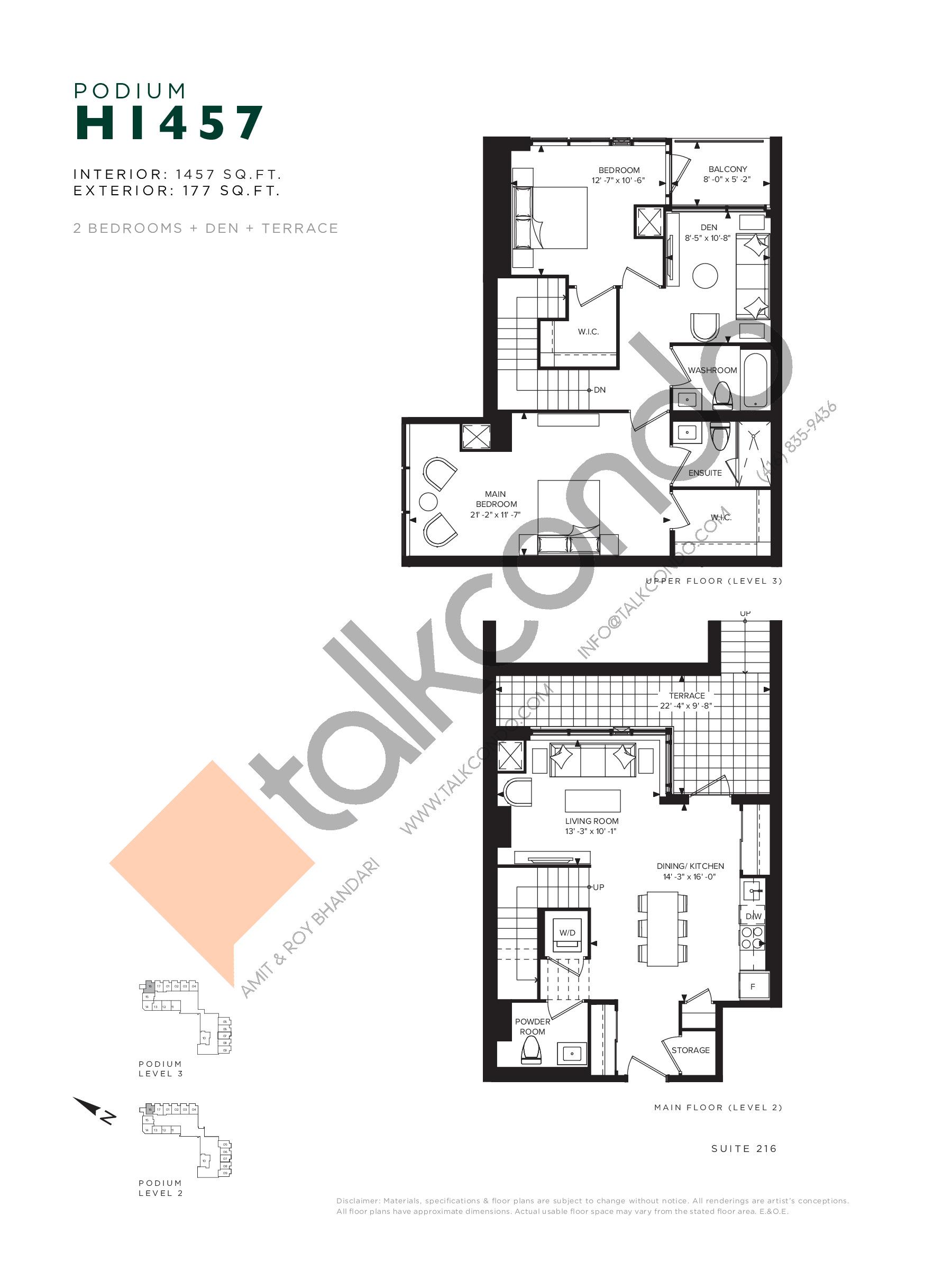H1457 (Podium) Floor Plan at Hillmont at SXSW Condos - 1457 sq.ft