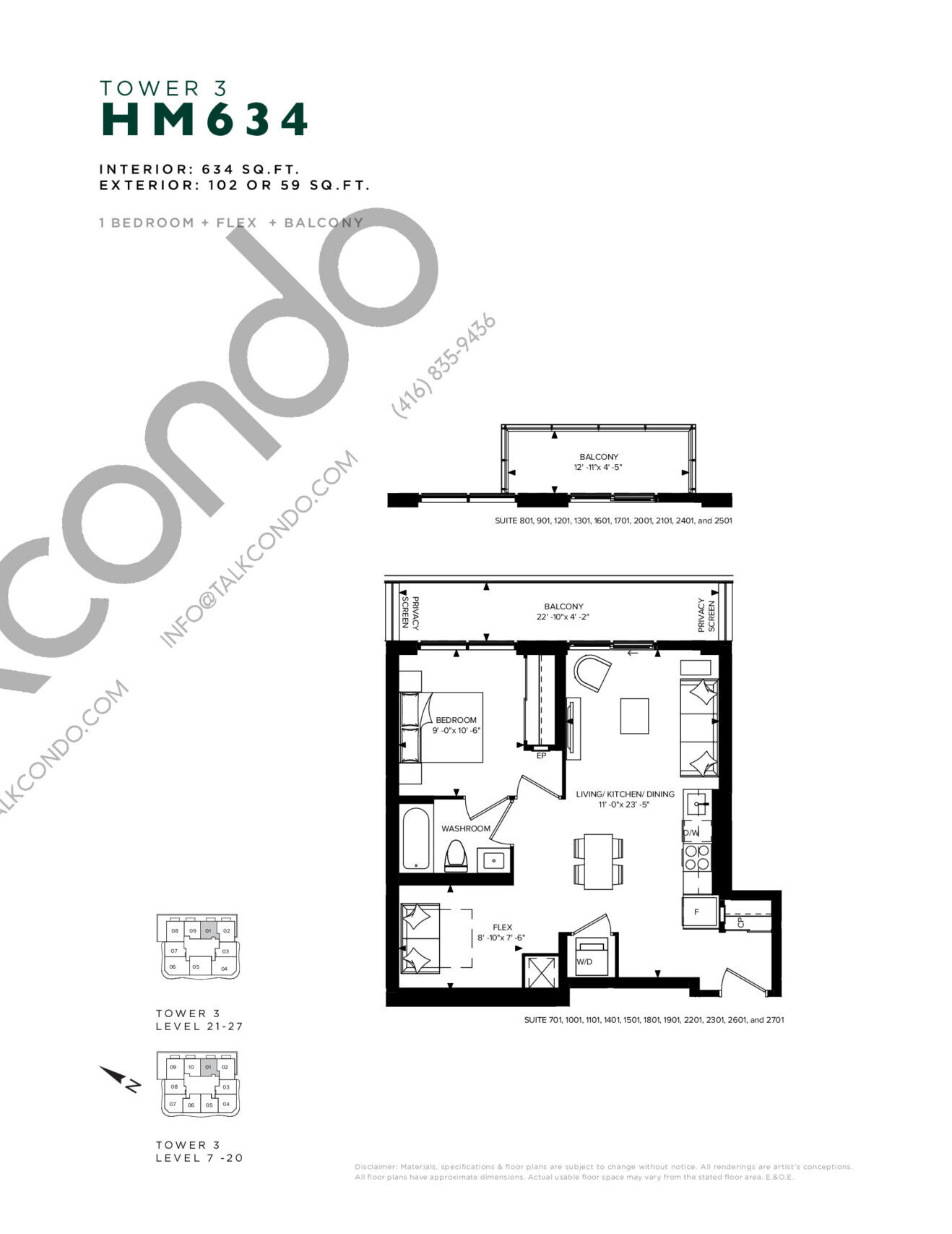 HM 634 (Tower 3) Floor Plan at Hillmont at SXSW Condos - 634 sq.ft