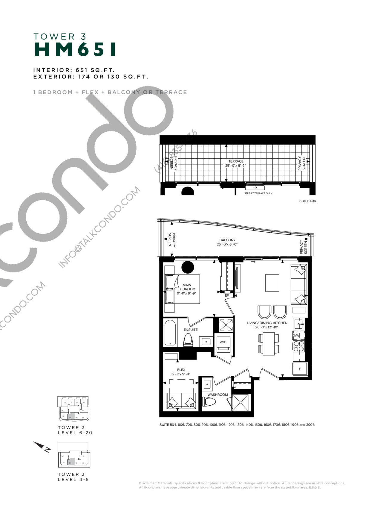 HM 651 (Tower 3) Floor Plan at Hillmont at SXSW Condos - 651 sq.ft