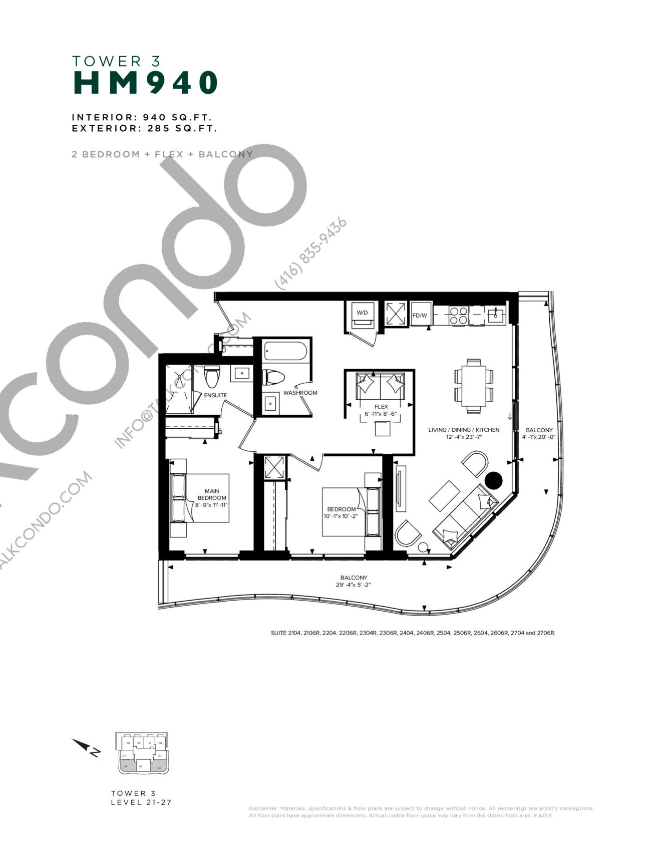 HM 940 (Tower 3) Floor Plan at Hillmont at SXSW Condos - 940 sq.ft