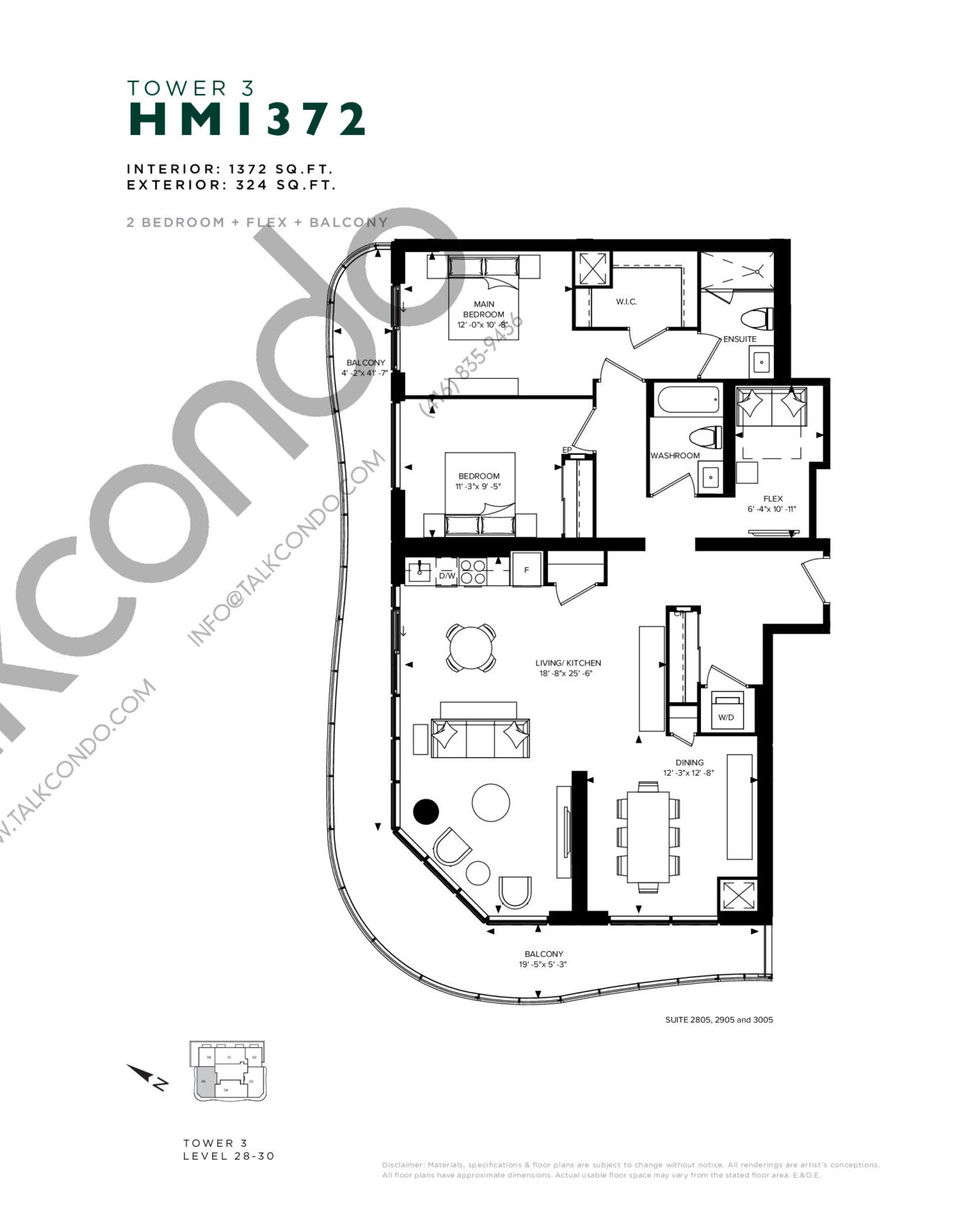 HM 1372 (Tower 3) Floor Plan at Hillmont at SXSW Condos - 1372 sq.ft