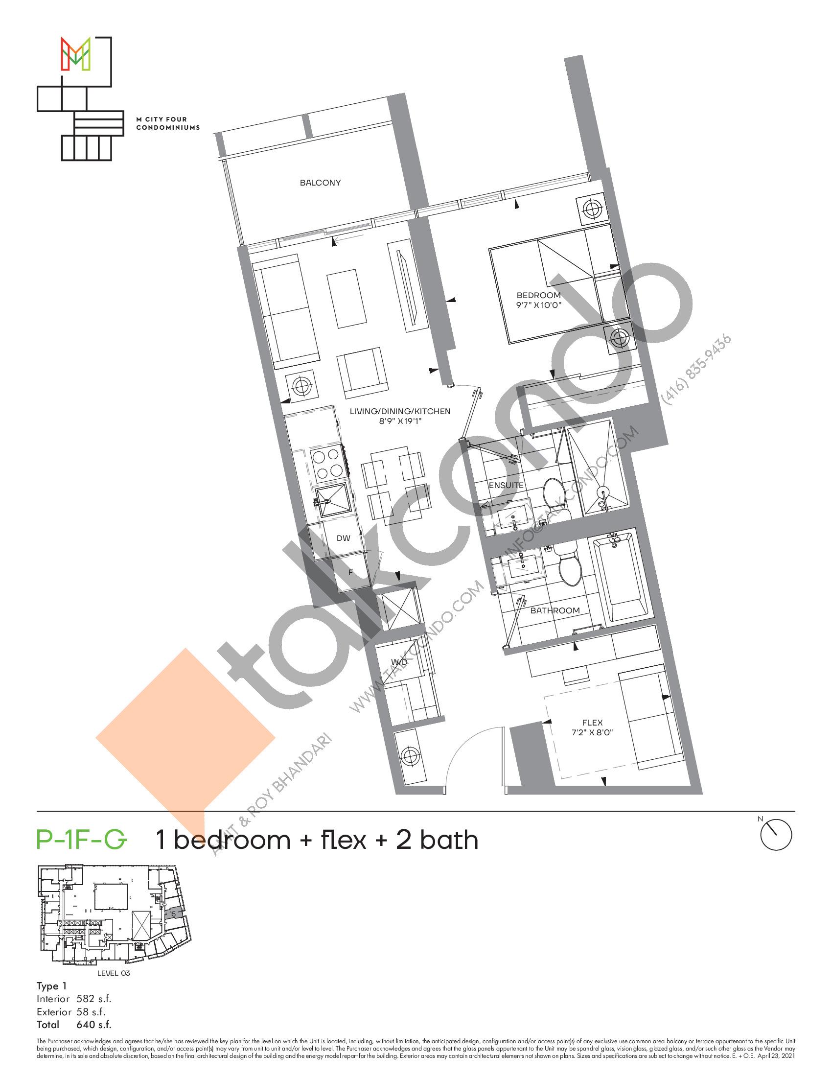 P-1F-G (Podium) Floor Plan at M4 Condos - 582 sq.ft