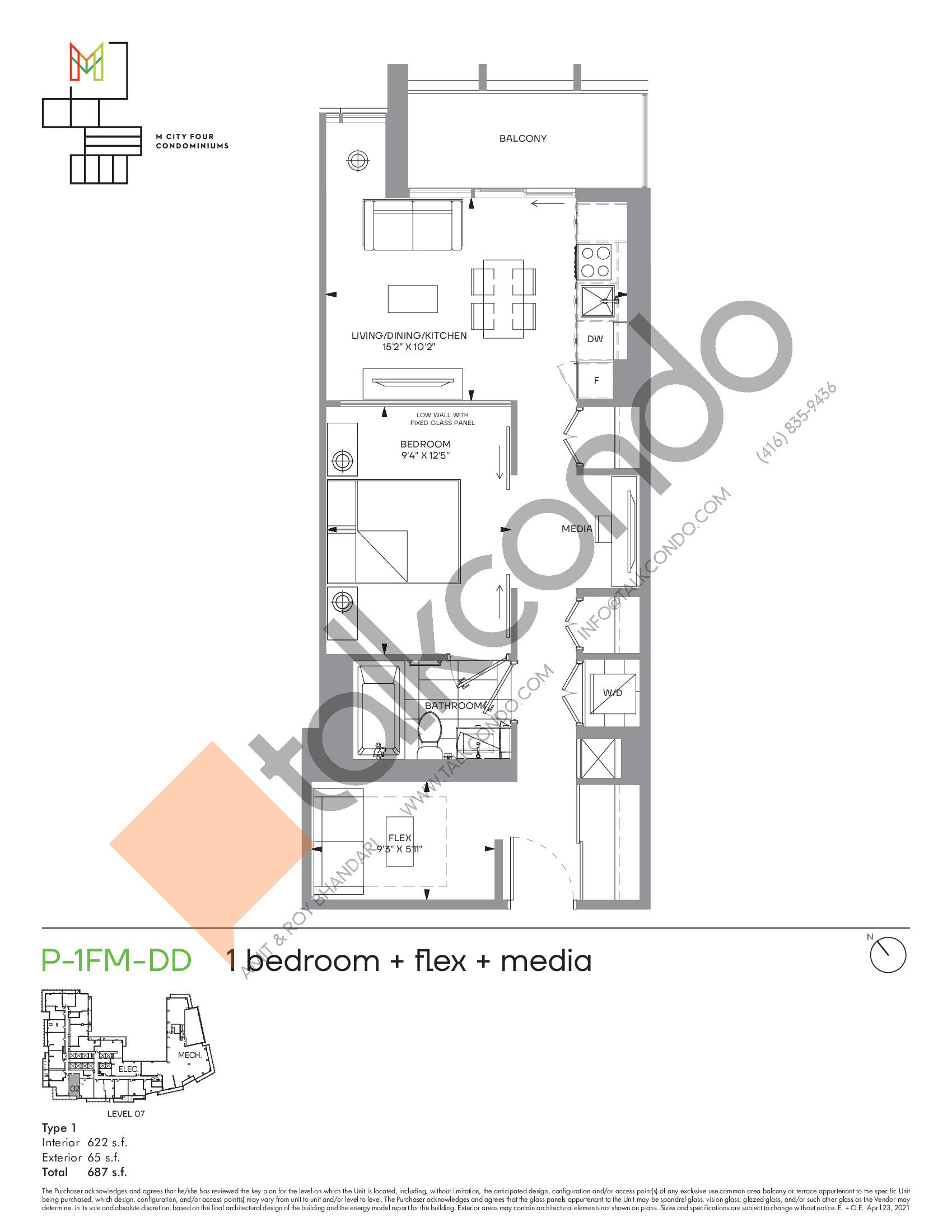 P-1FM-DD (Podium) Floor Plan at M4 Condos - 622 sq.ft