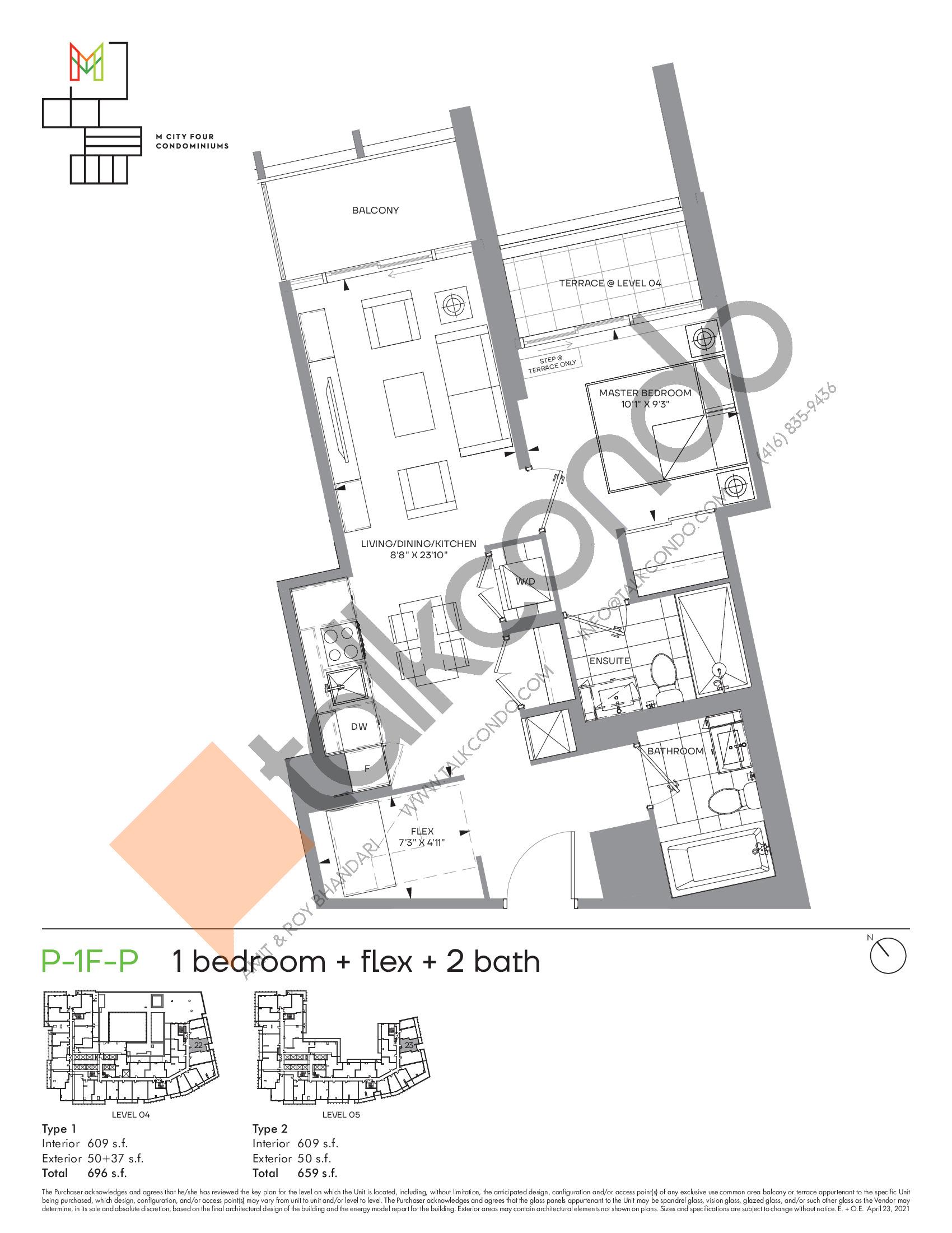 P-1F-P (Podium) Floor Plan at M4 Condos - 609 sq.ft