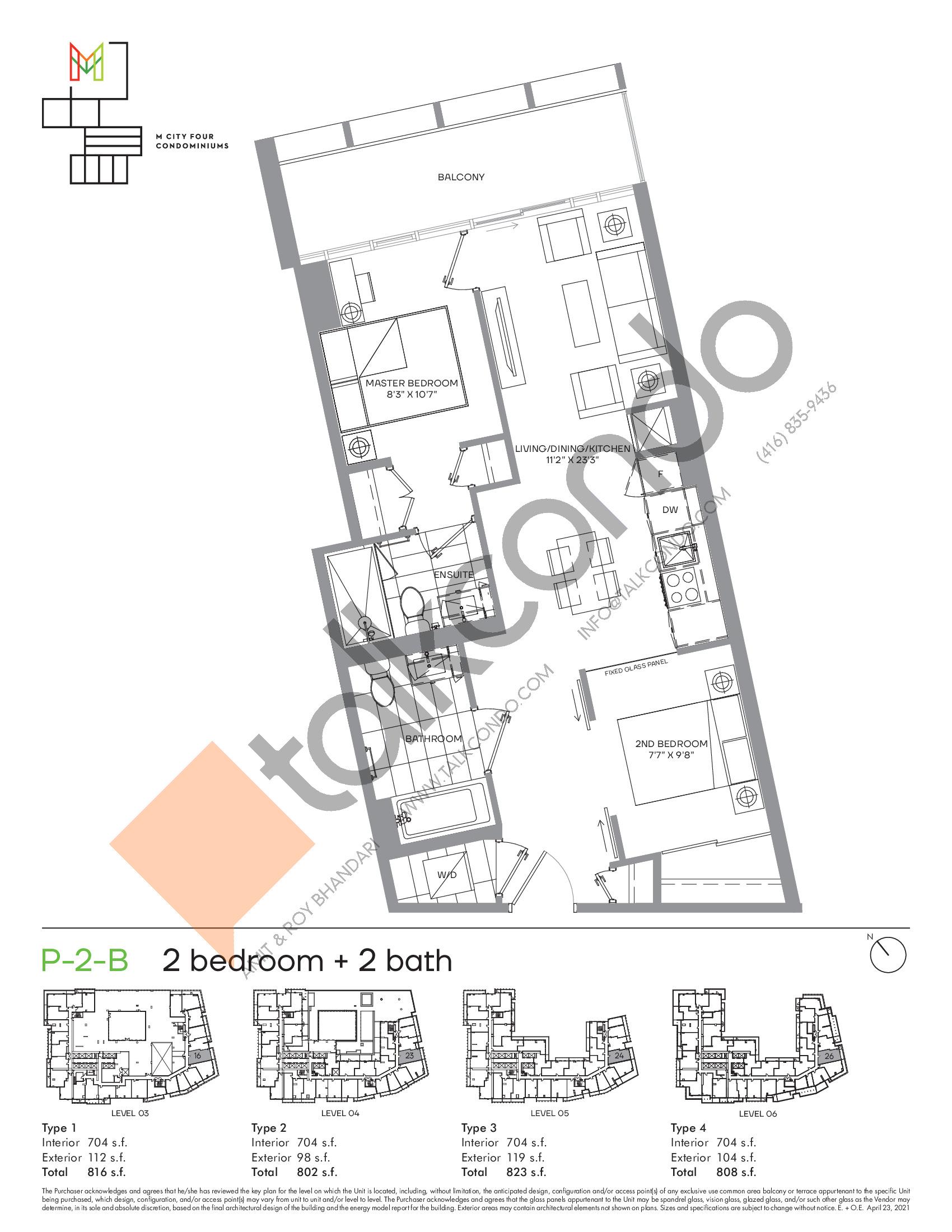P-2-B (Podium) Floor Plan at M4 Condos - 704 sq.ft