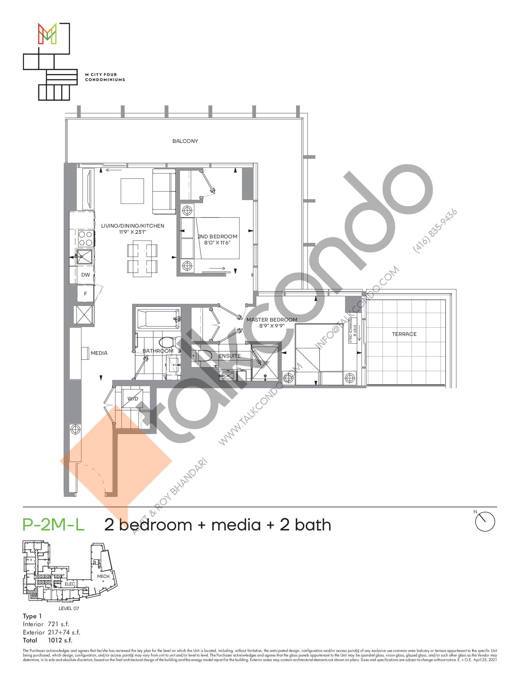 P-2M-L (Podium) Floor Plan at M4 Condos - 721 sq.ft