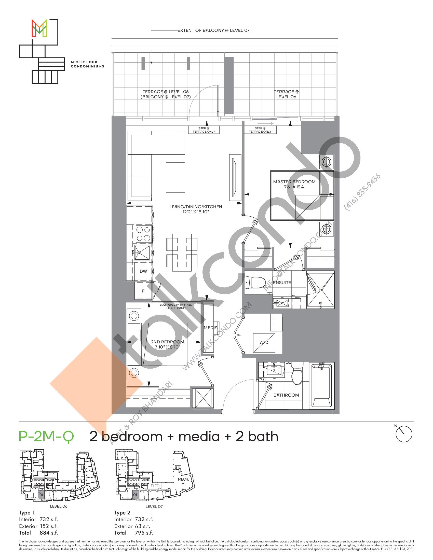 P-2M-Q (Podium) Floor Plan at M4 Condos - 732 sq.ft