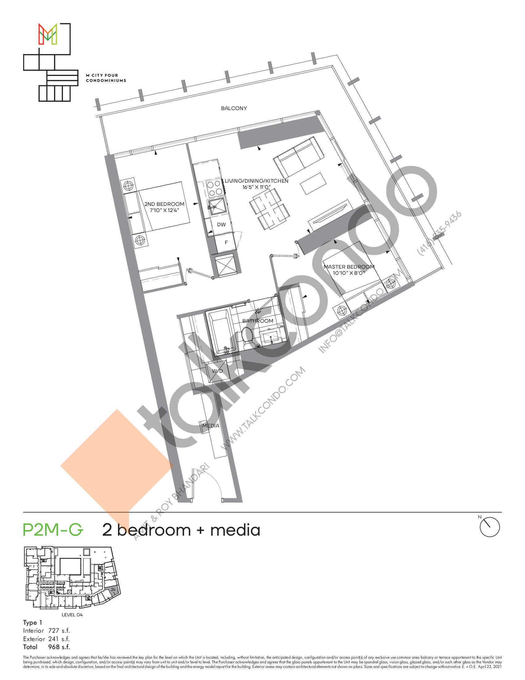 P2M-G (Podium) Floor Plan at M4 Condos - 727 sq.ft