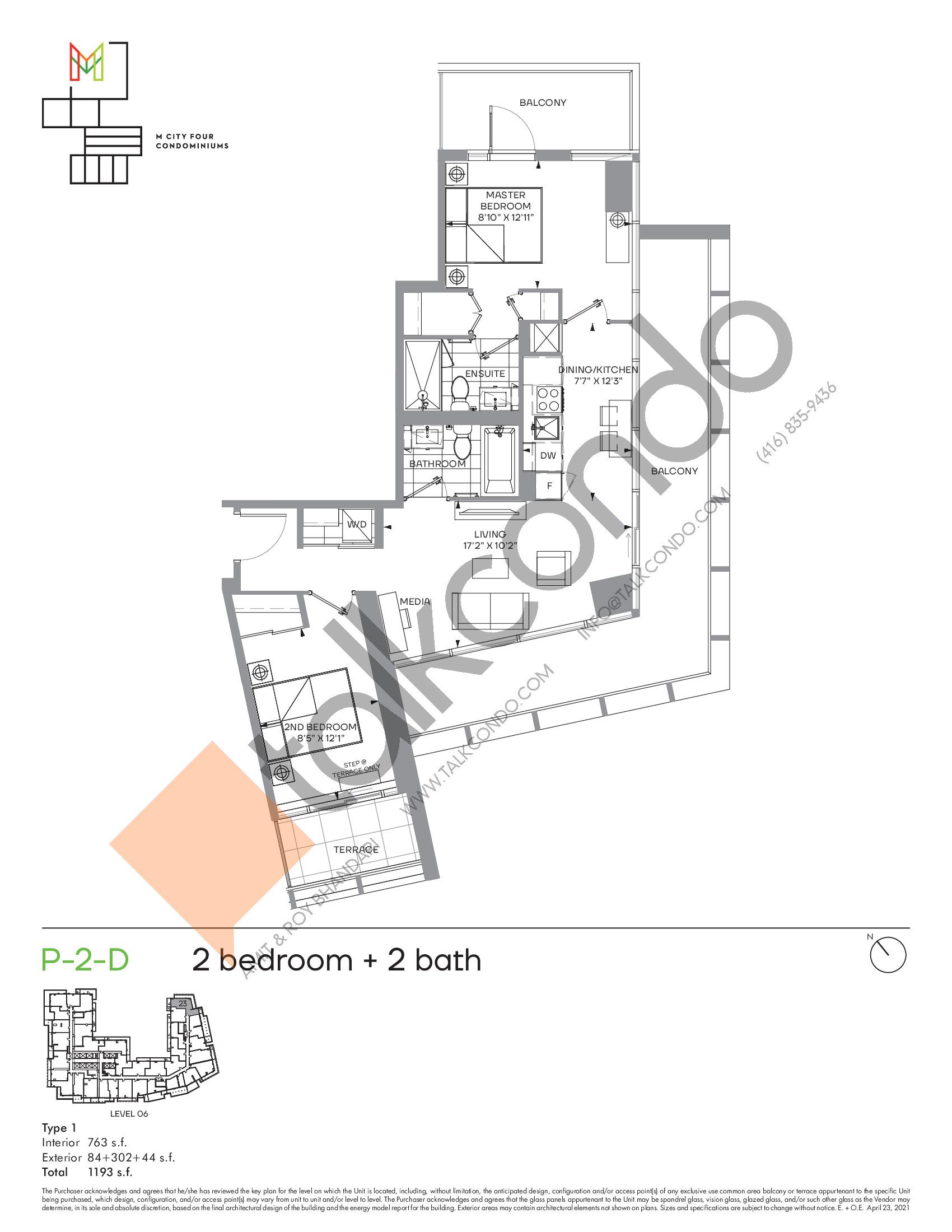 P-2-D (Podium) Floor Plan at M4 Condos - 763 sq.ft